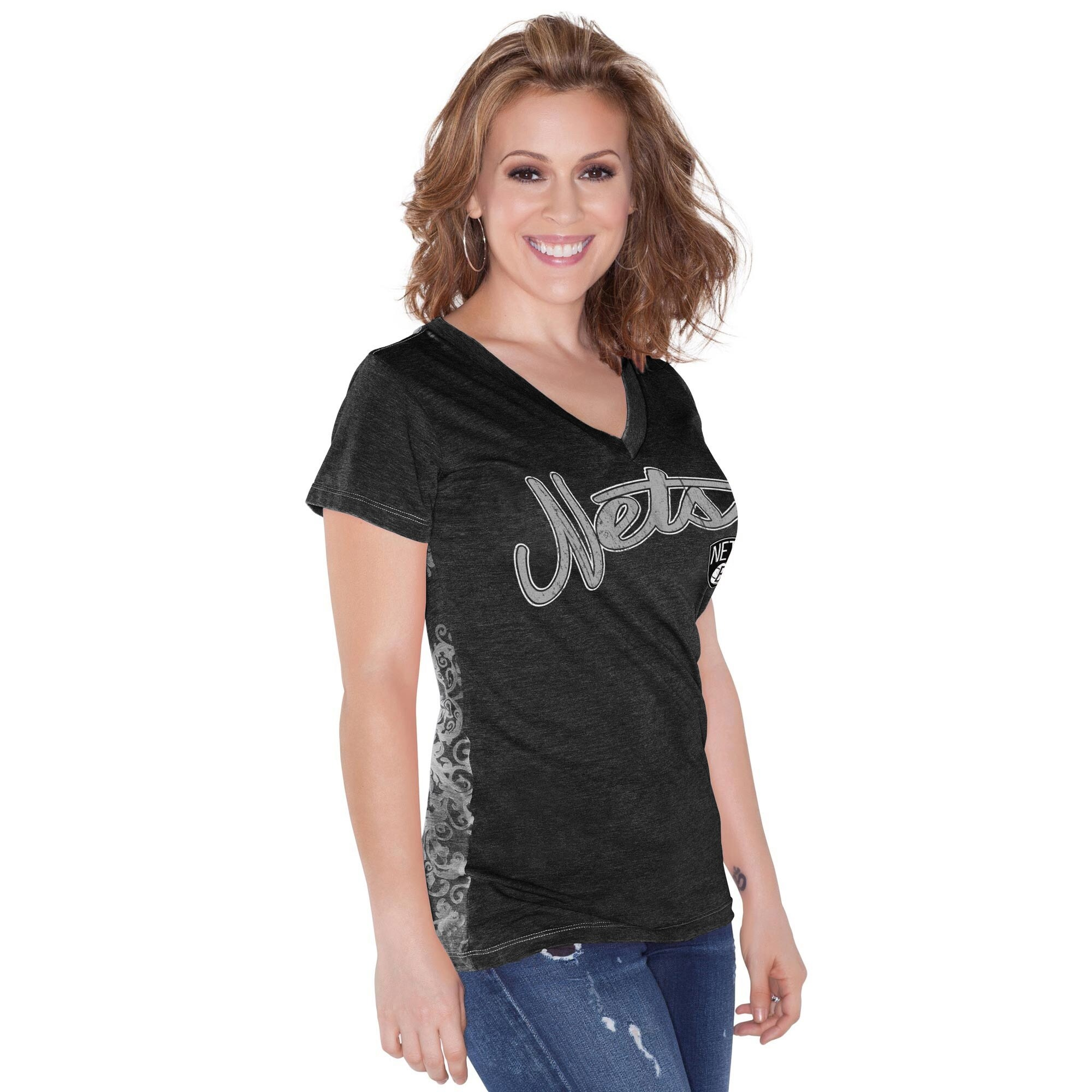 Brooklyn Nets Touch by Alyssa Milano Women's Audrey V-Neck T-Shirt - Black