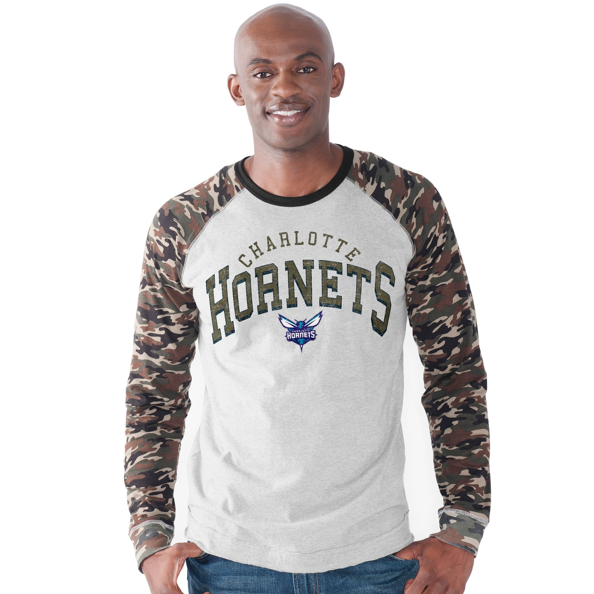 Charlotte Hornets G-III Sports by Carl Banks Camo Jersey Raglan Long Sleeve T-Shirt - Heather Gray