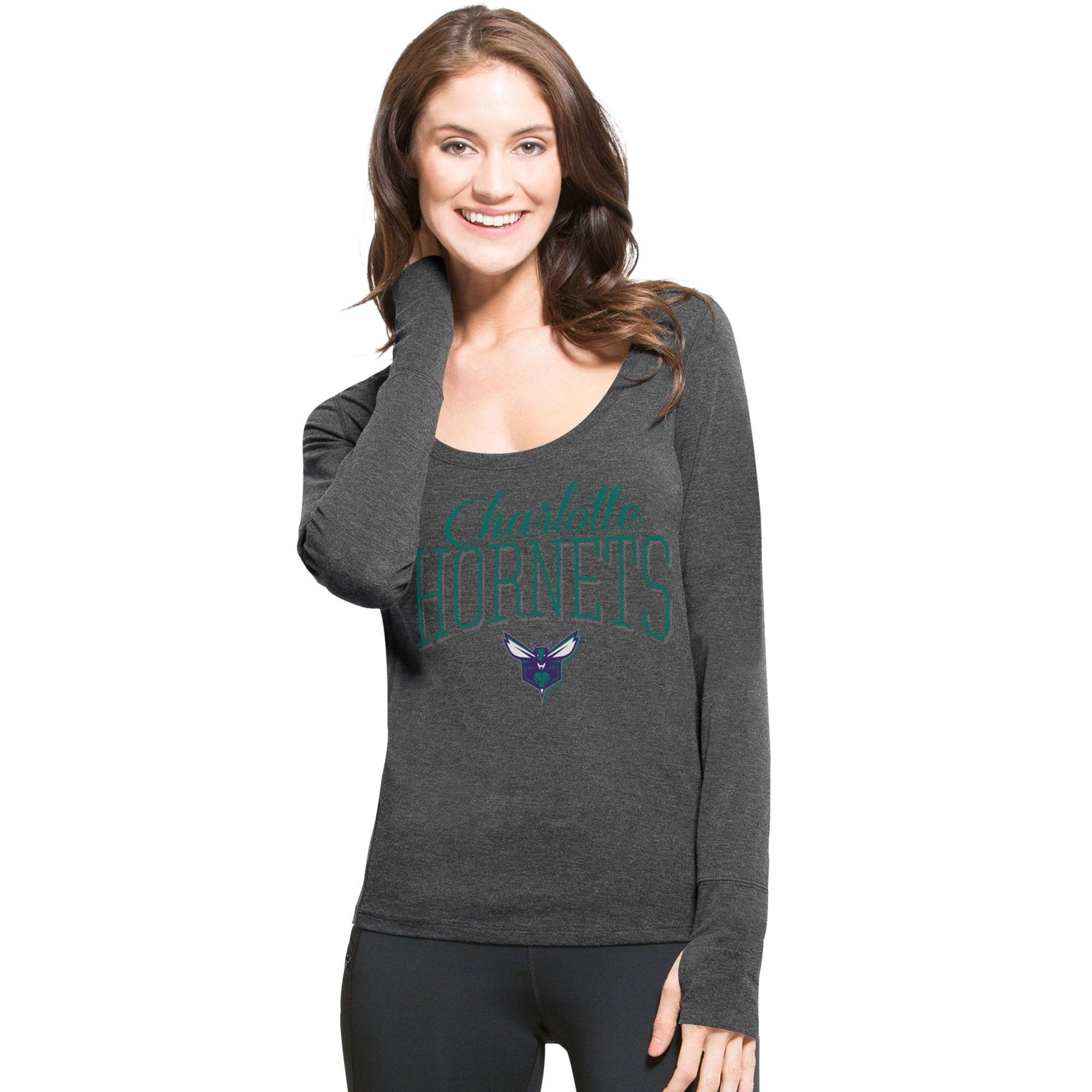 Charlotte Hornets '47 Women's SHIFT Dash Long Sleeve Tri-Blend T-Shirt - Black