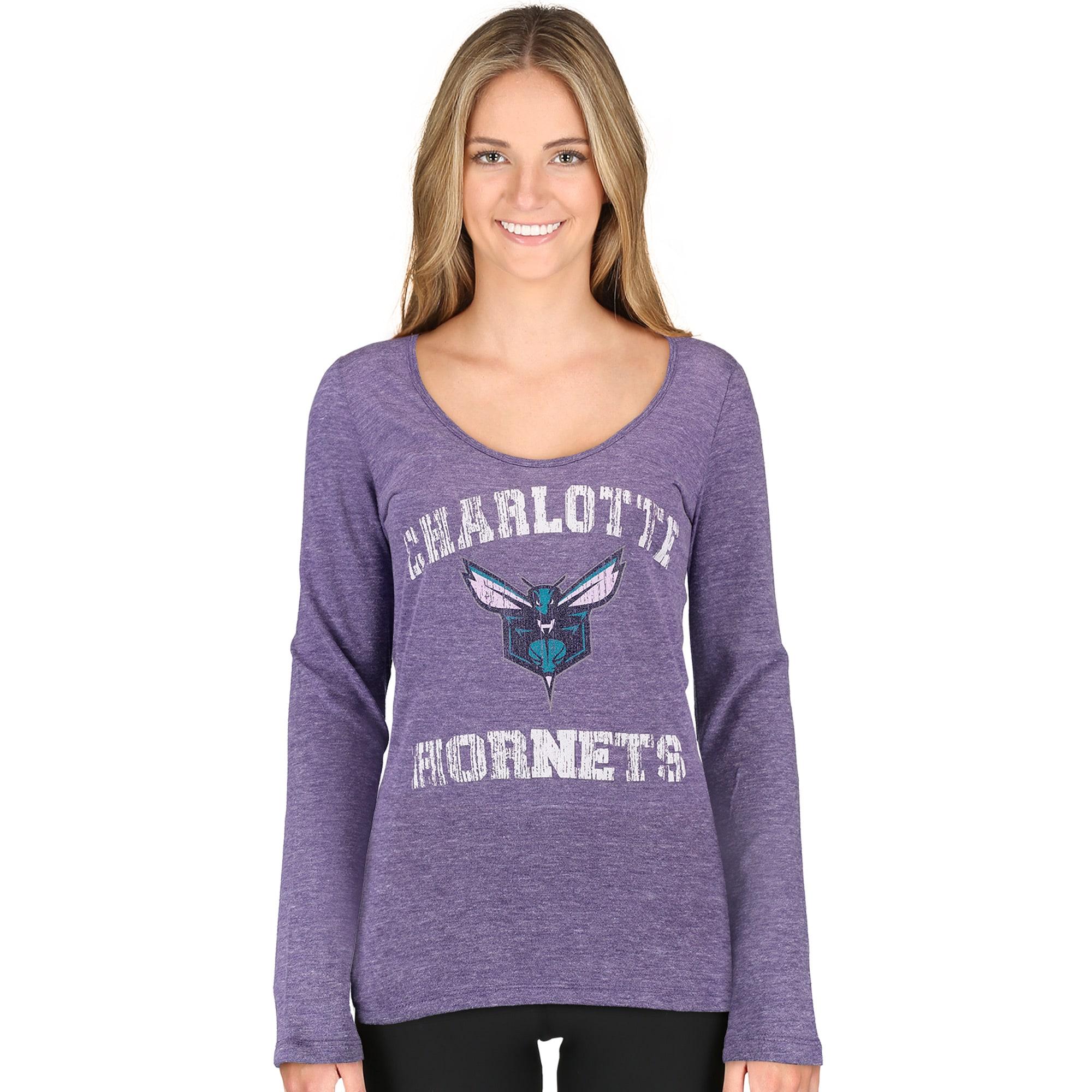 Charlotte Hornets 5th & Ocean by New Era Women's Tri-Blend Long Sleeve Glitter Logo Scoop Neck T-Shirt - Purple