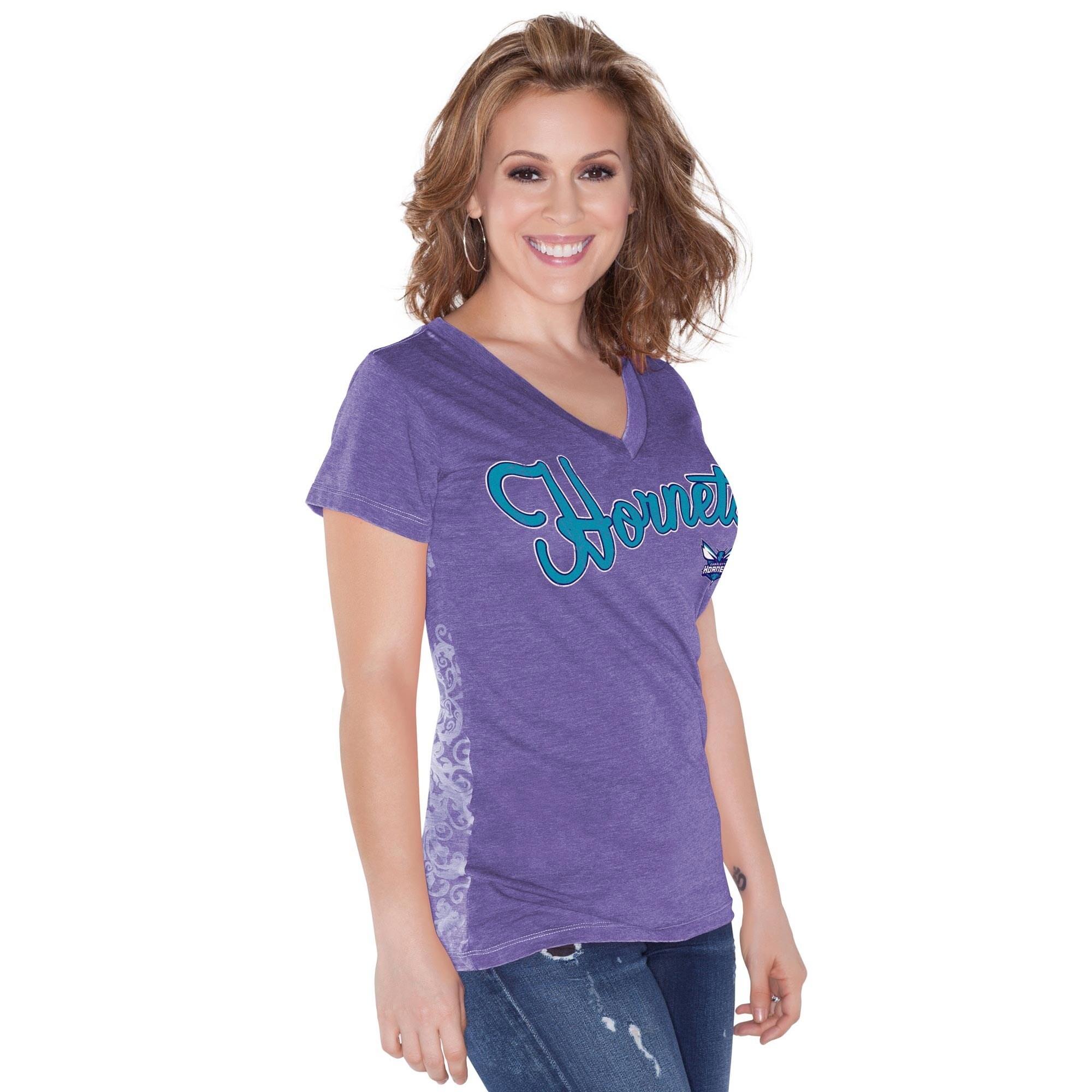 Charlotte Hornets Touch by Alyssa Milano Women's Audrey V-Neck T-Shirt - Purple