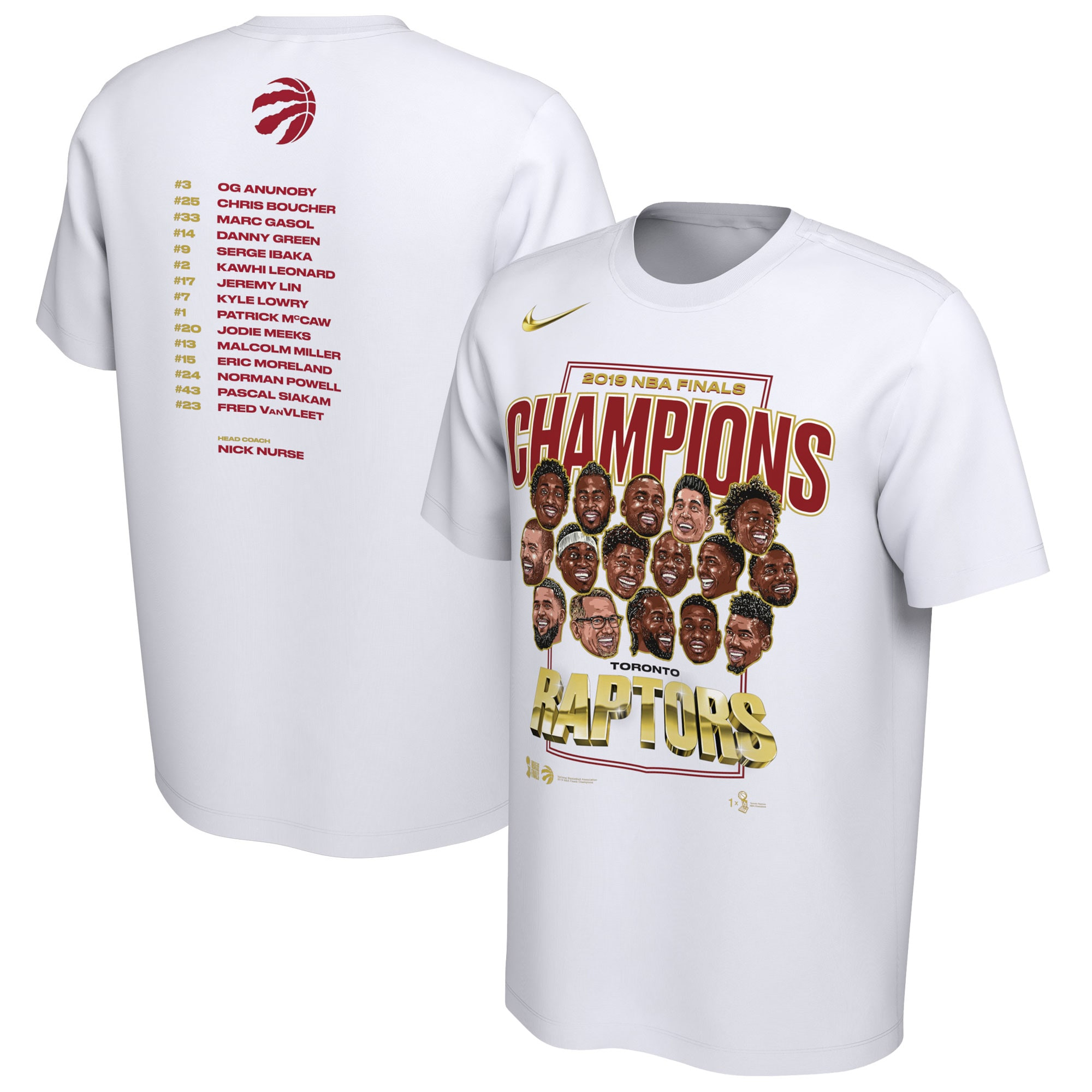 Toronto Raptors Nike 2019 NBA Finals Champions Celebration Roster Performance T-Shirt - White