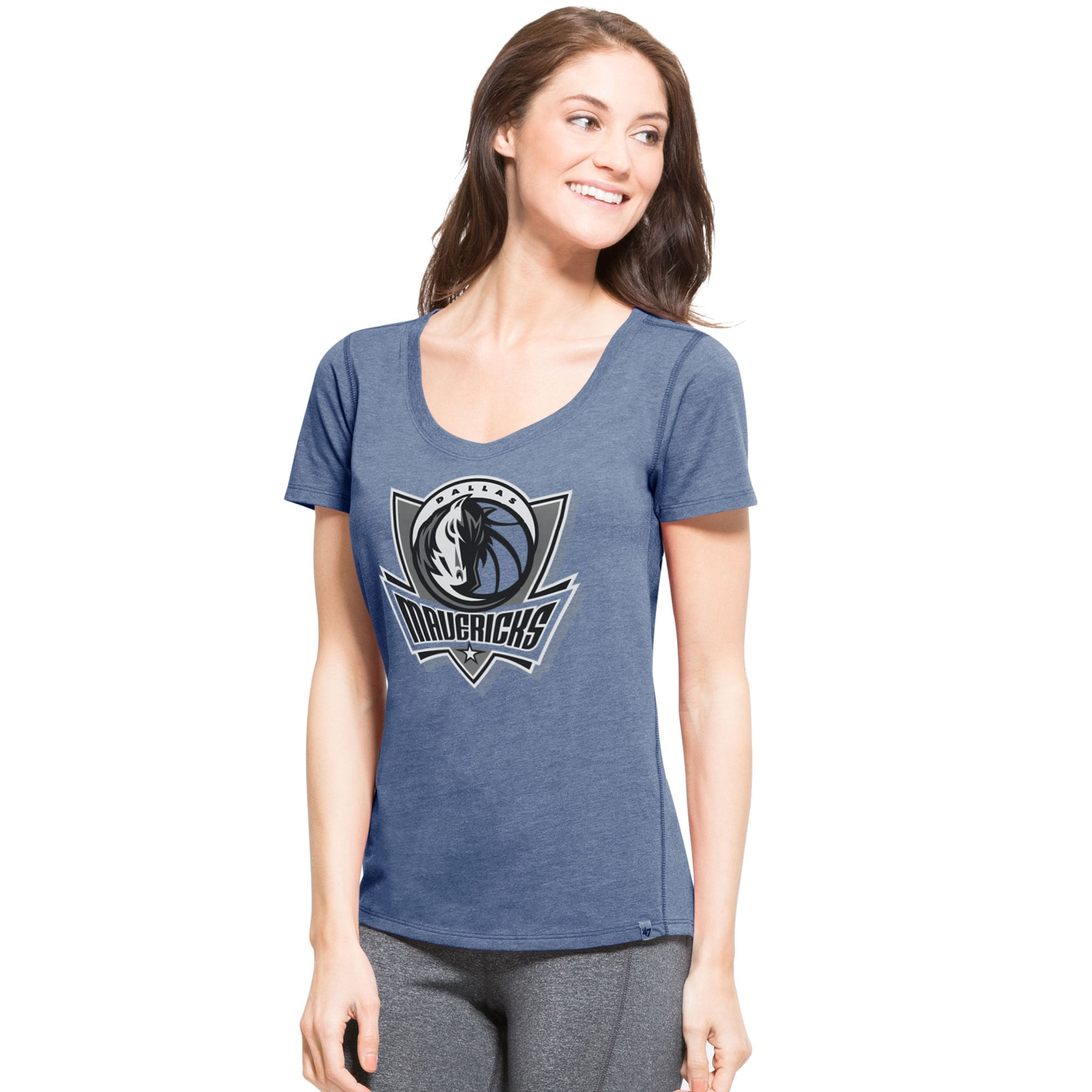 Dallas Mavericks '47 Women's Shift High Point Ribbed T-Shirt - Blue