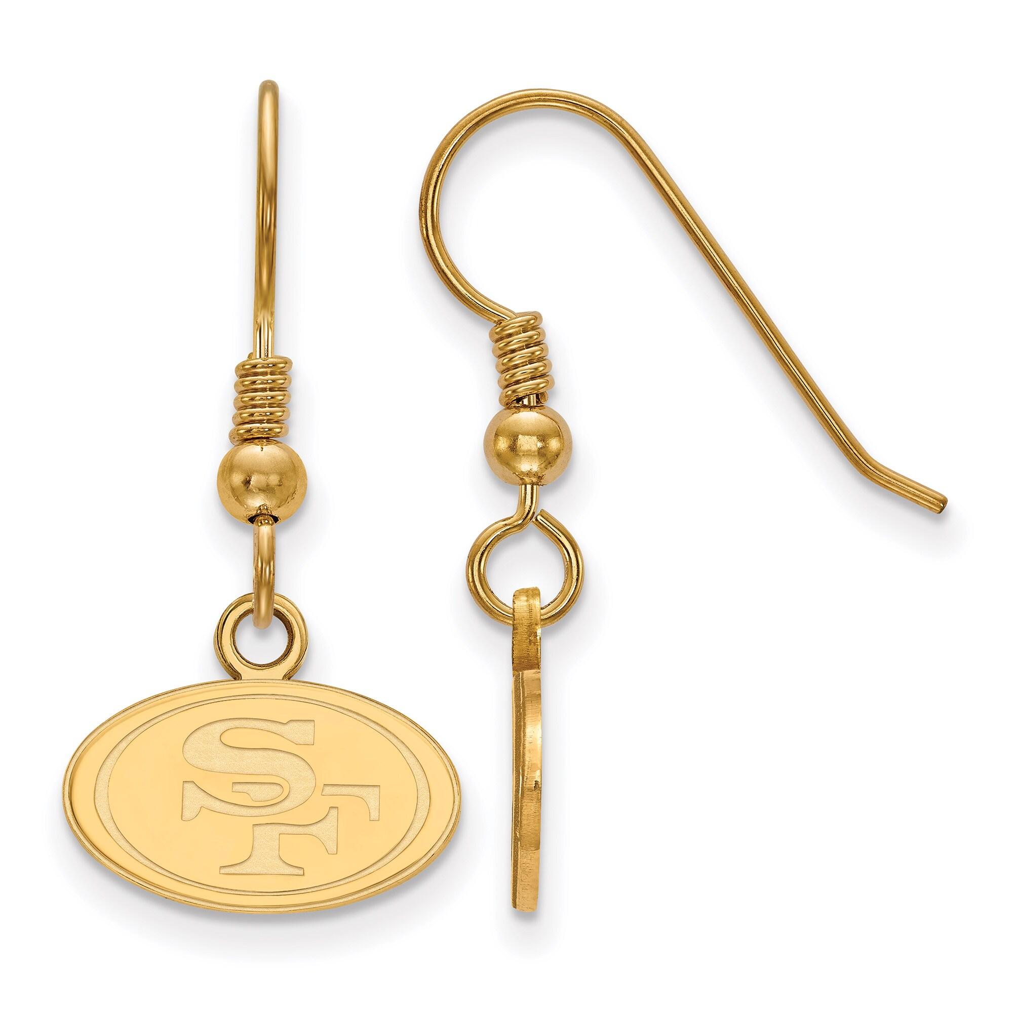 San Francisco 49ers Gold-Plated Small Logo Dangle Earrings