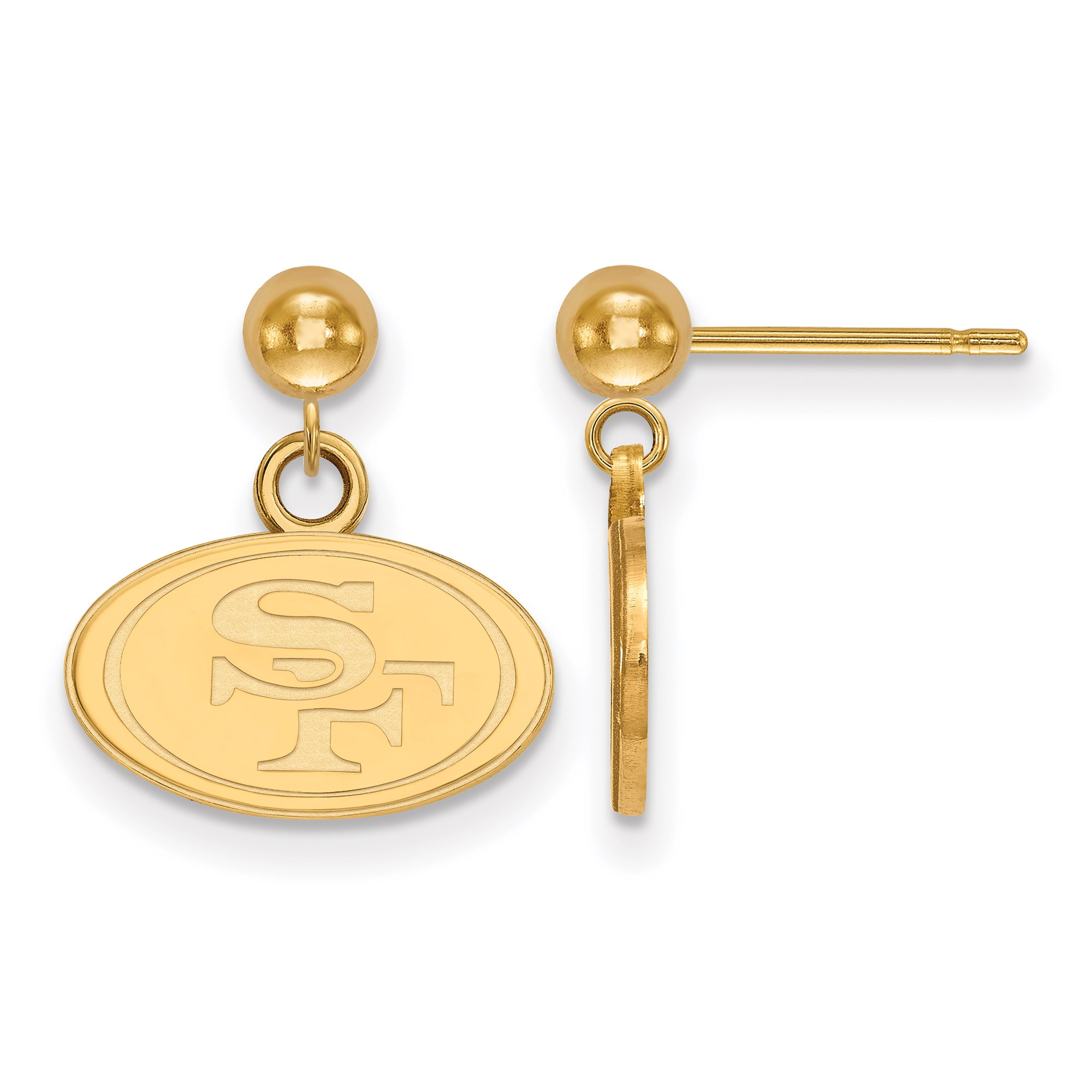 San Francisco 49ers Gold-Plated Small Logo Ball Post Earrings