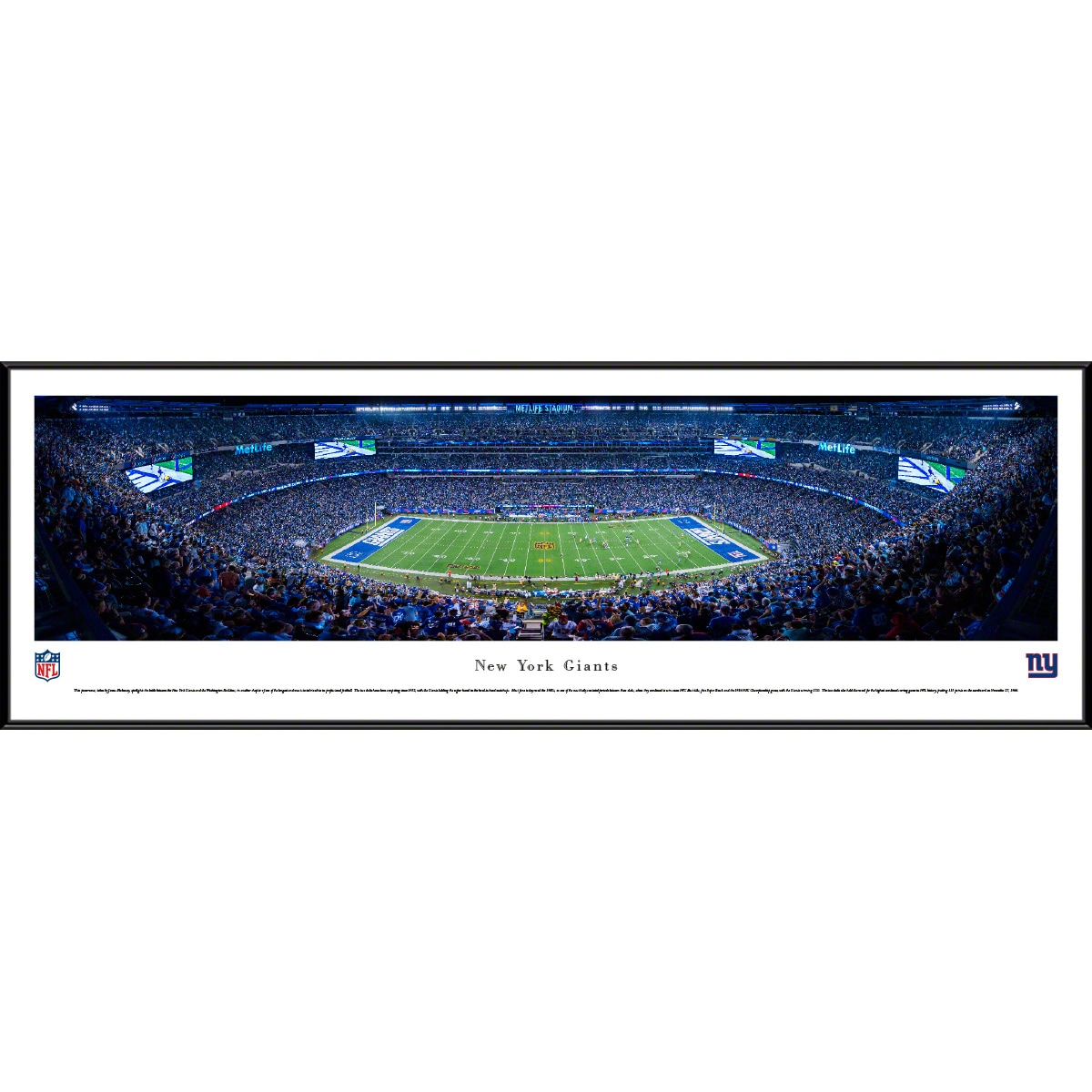"New York Giants 40.25"" x 13.75"" Standard Framed Panoramic Photo"