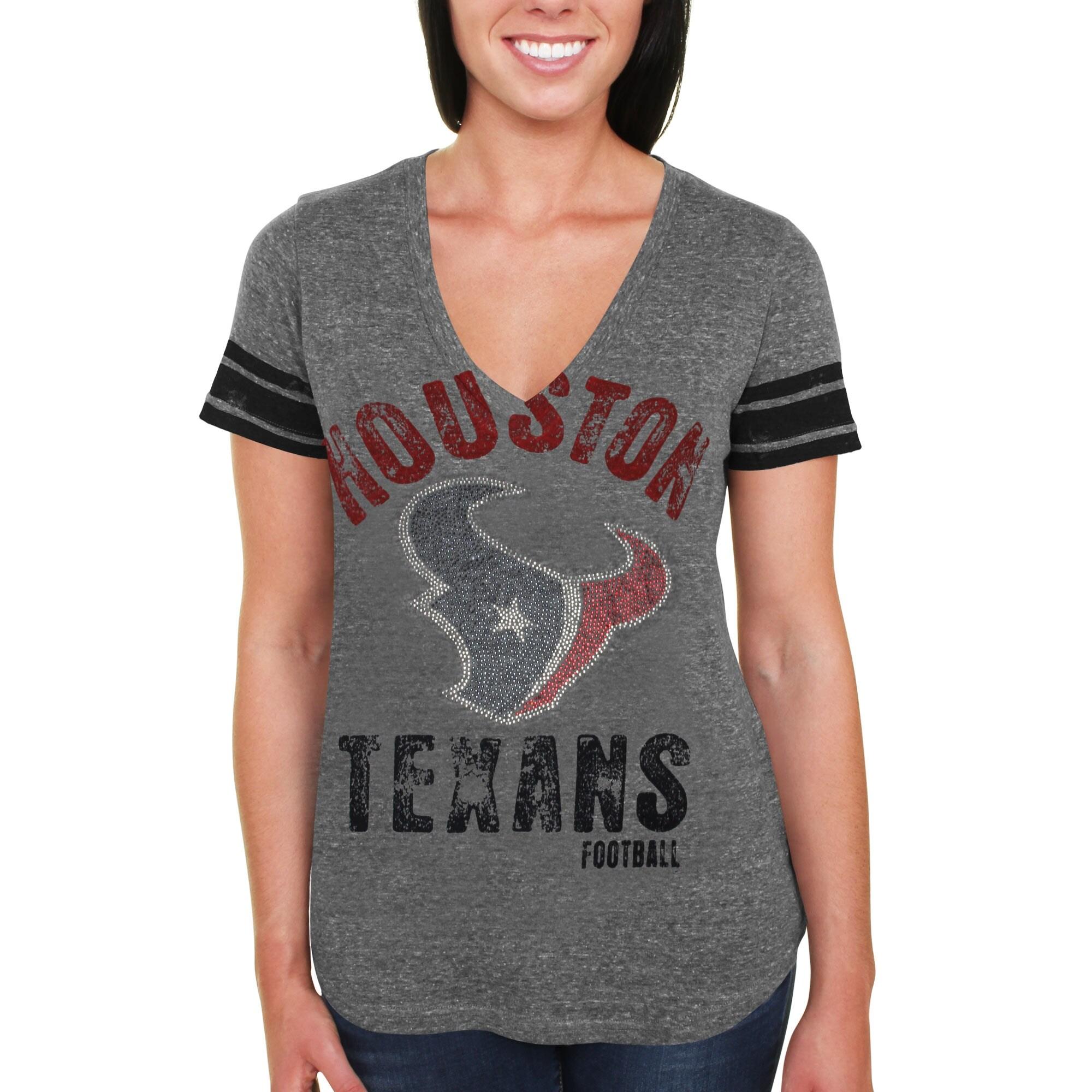 Houston Texans Women's Team Captain Tri-Blend V-Neck T-Shirt - Gray