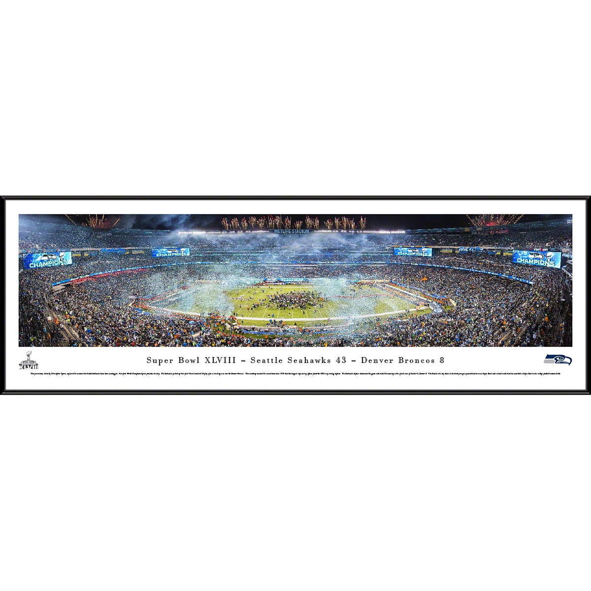 "Seattle Seahawks 40.25"" x 13.75"" Super Bowl XLVIII Champions Celebration Standard Framed Panoramic Photo"
