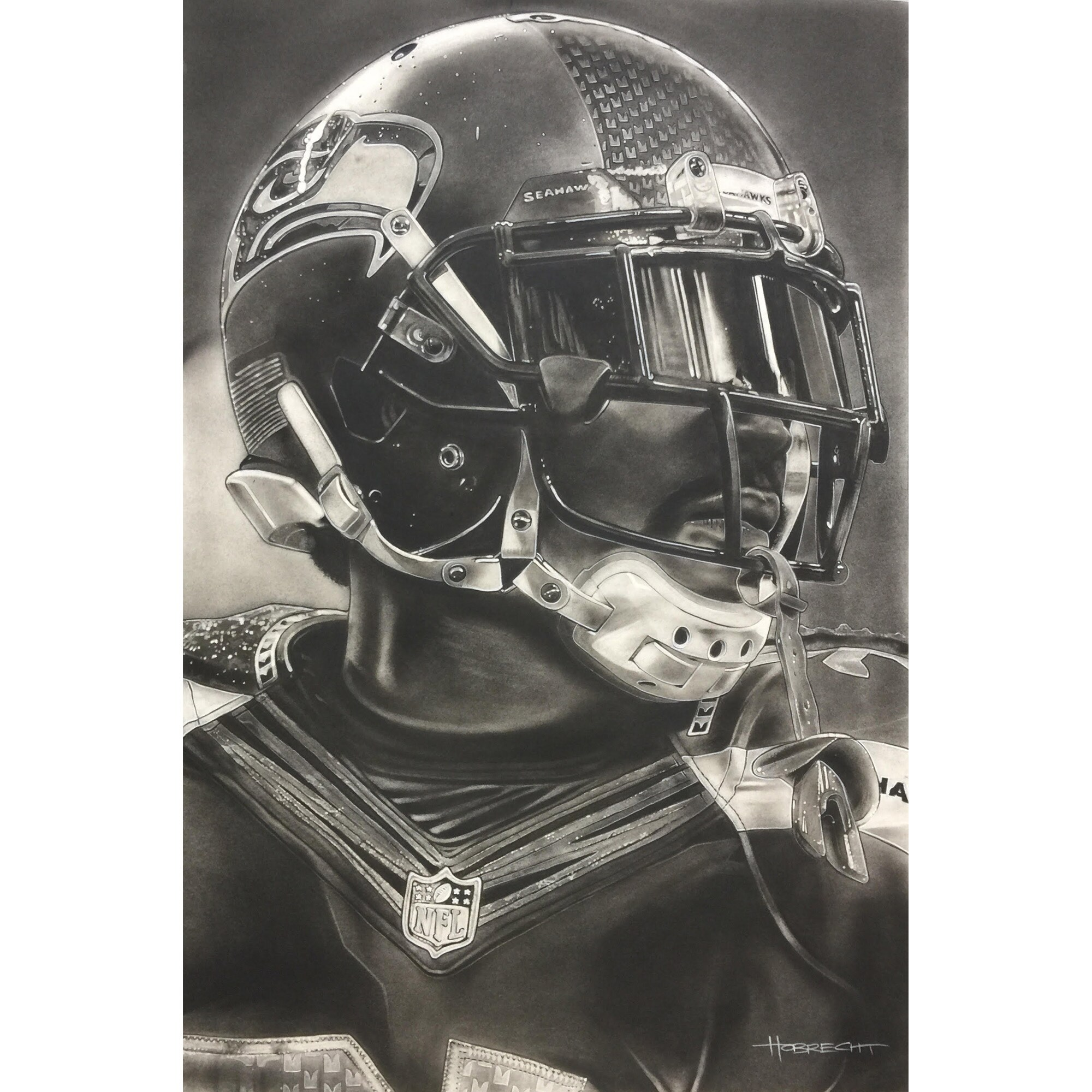 "Seattle Seahawks Deacon Jones Foundation 20"" x 30"" Helmet Series Fine Art Giclée Print"