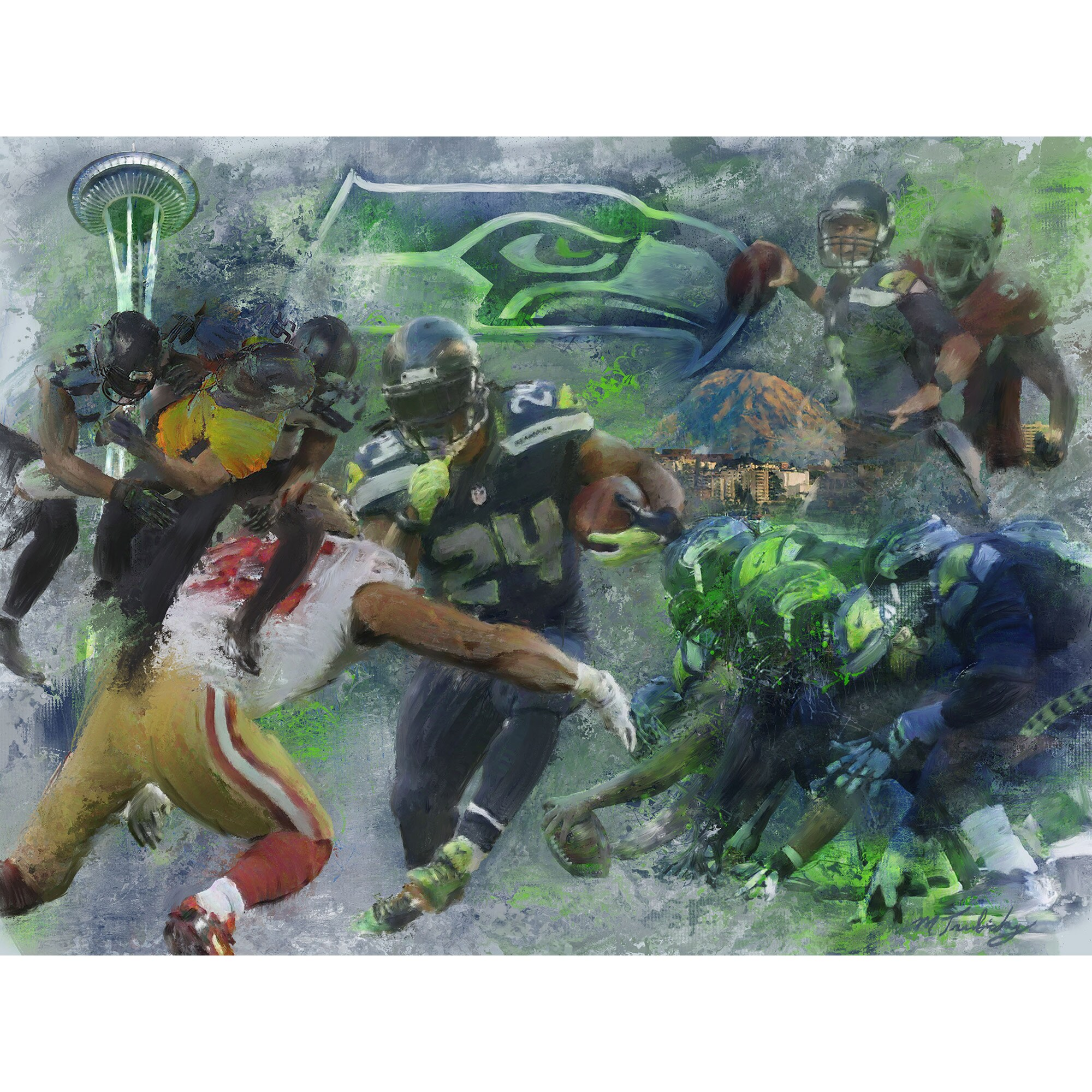 "Seattle Seahawks Deacon Jones Foundation 36"" x 48"" By Sea, Land and Air Fine Art Giclée Print"