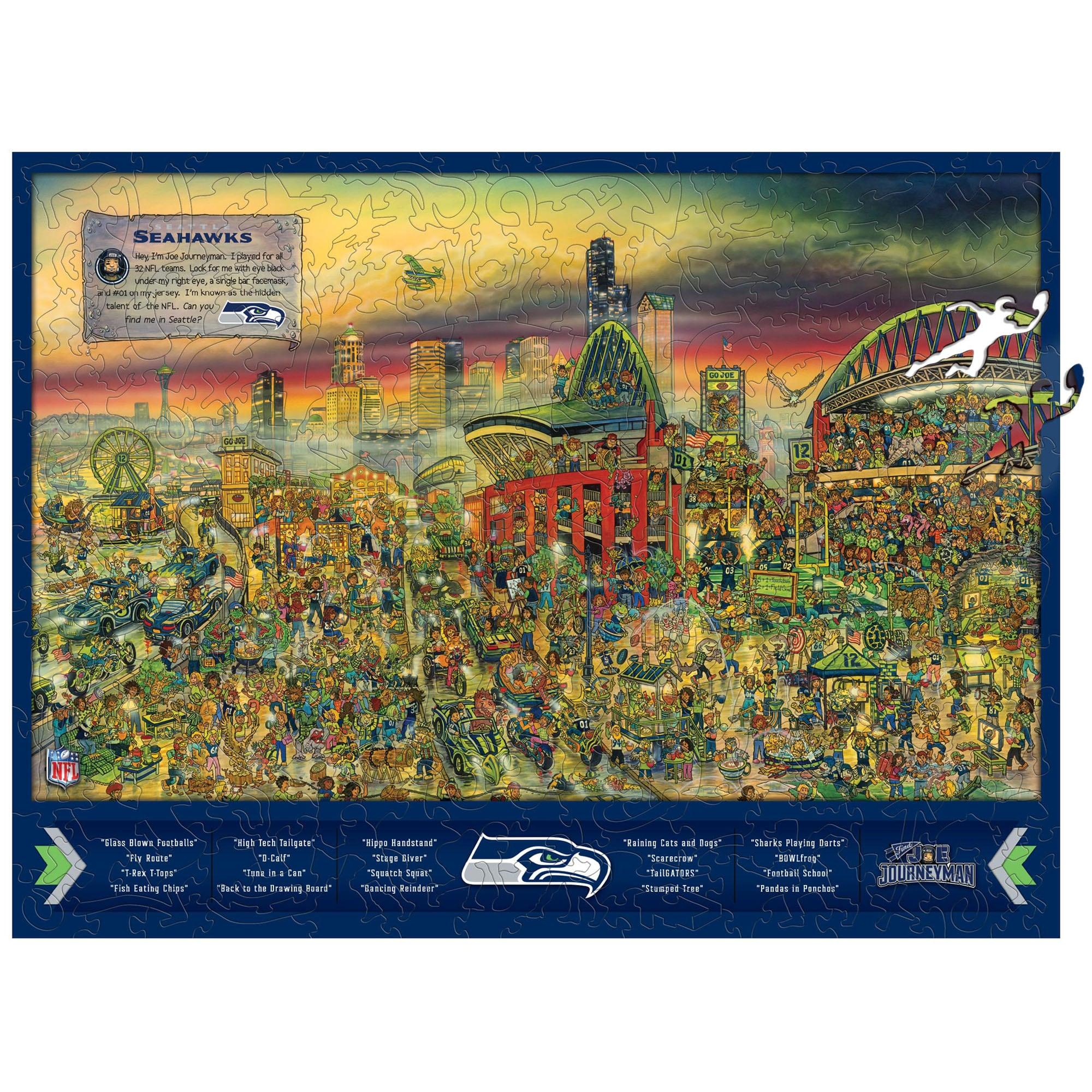 Seattle Seahawks Wooden Joe Journeyman Puzzle