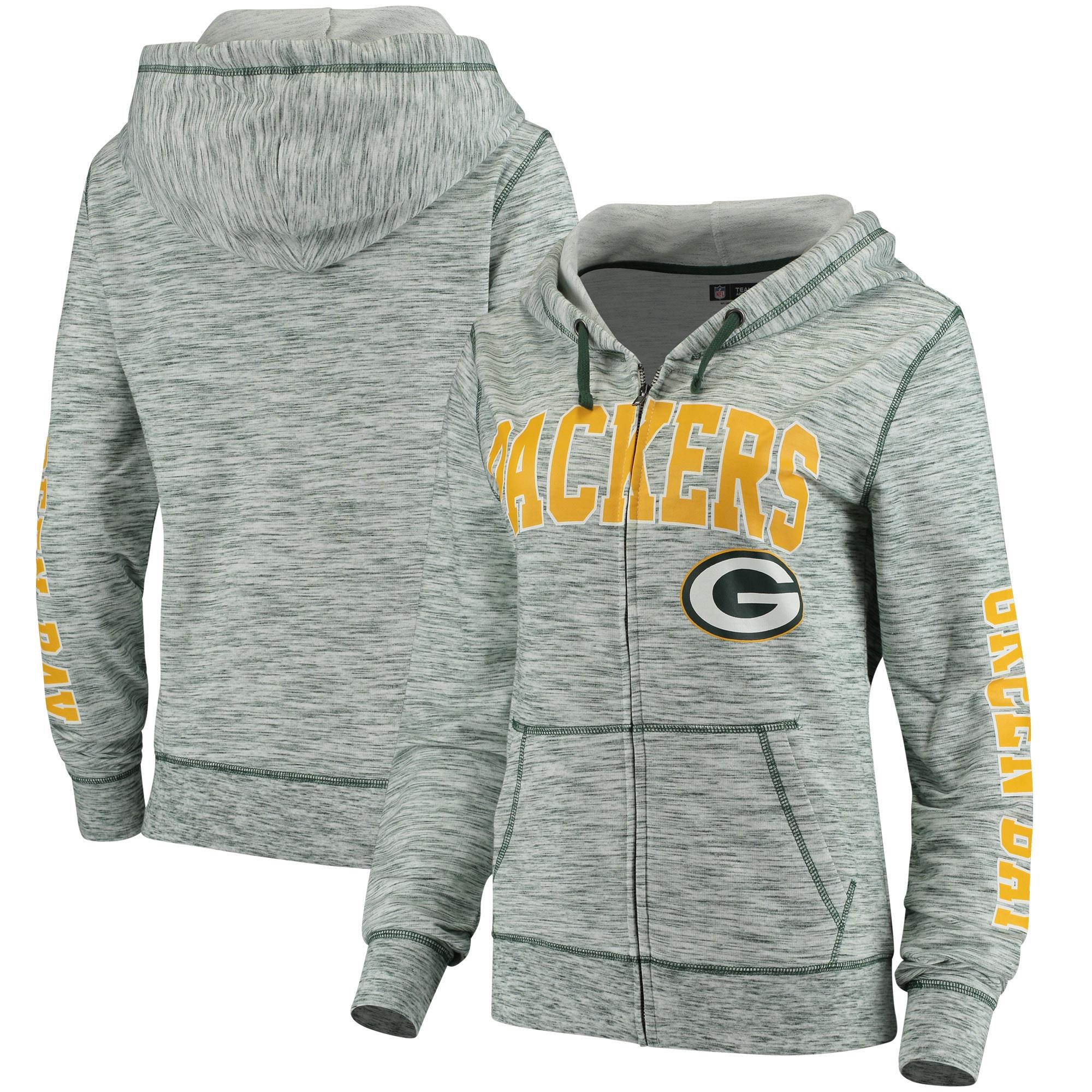 Green Bay Packers 5th & Ocean by New Era Women's Athletic Space Dye Full-Zip Hoodie - Green