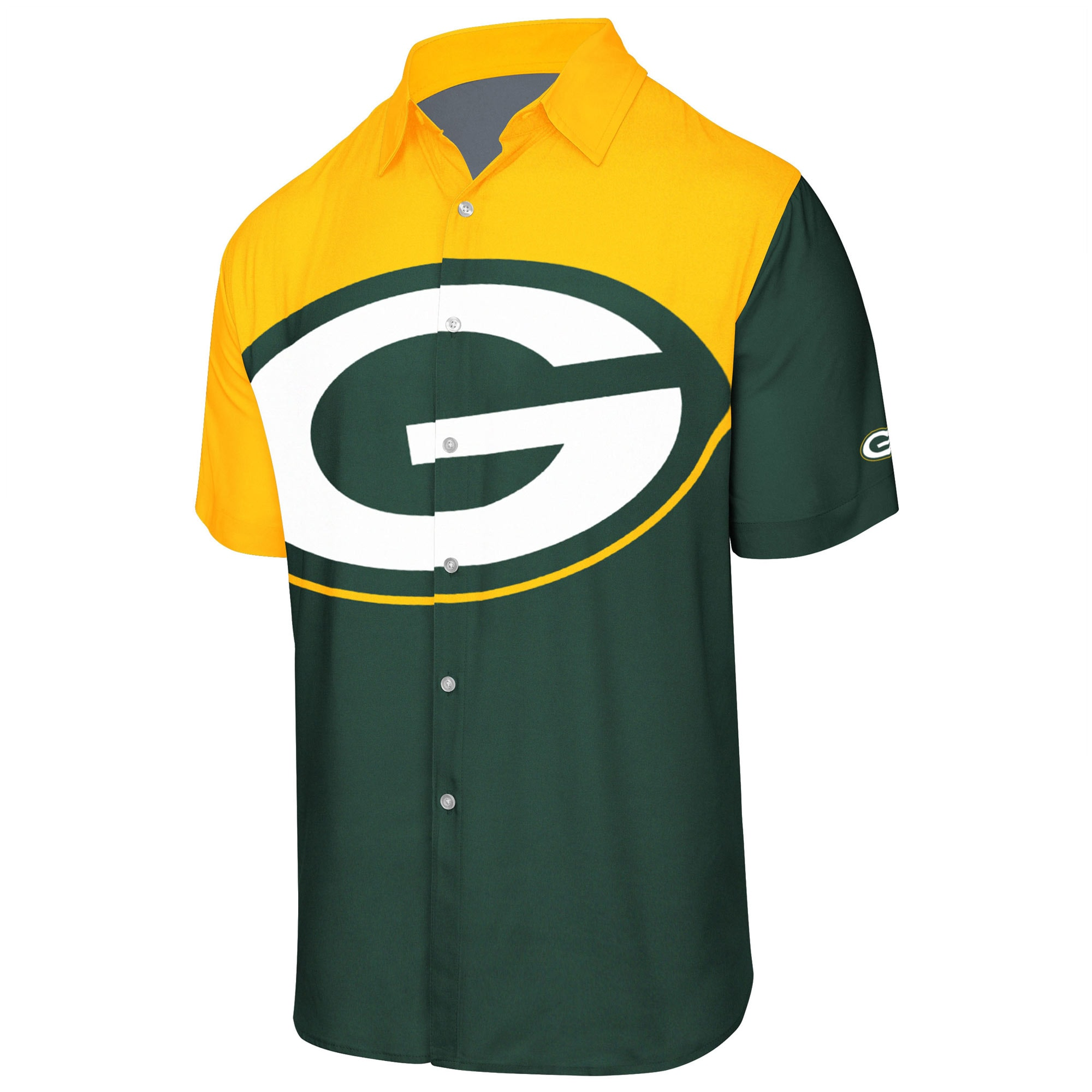 Green Bay Packers Big Logo Button-Up Woven T-Shirt - Green