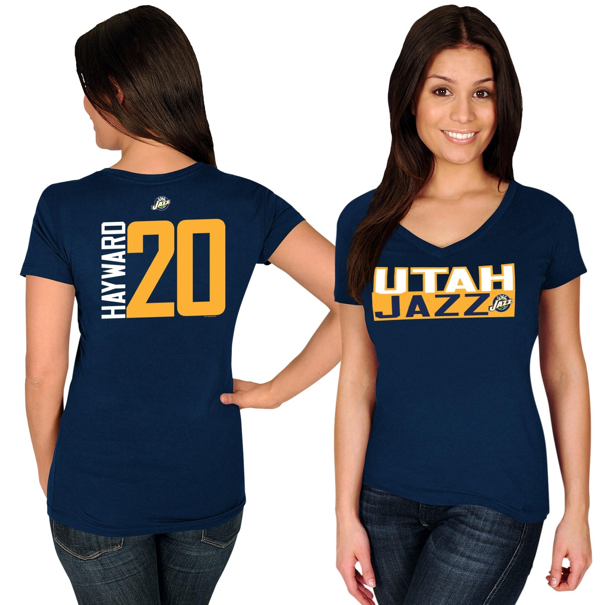 Gordon Hayward Utah Jazz Majestic Women's Name & Number V-Neck T-Shirt - Navy