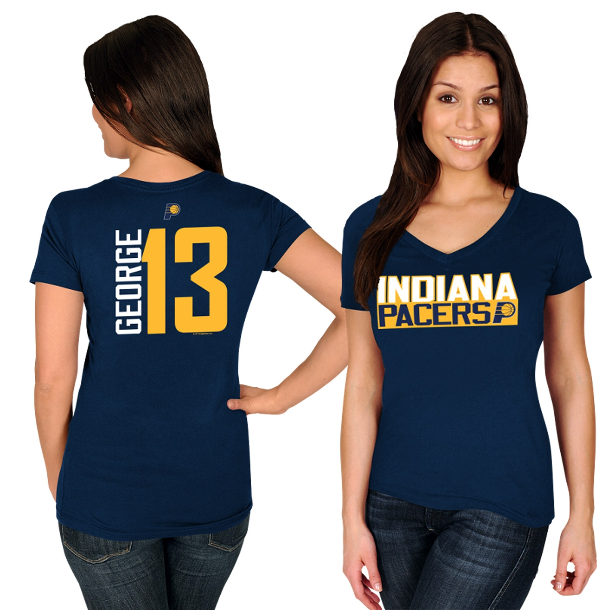 Paul George Indiana Pacers Majestic Women's Name & Number V-Neck T-Shirt - Navy