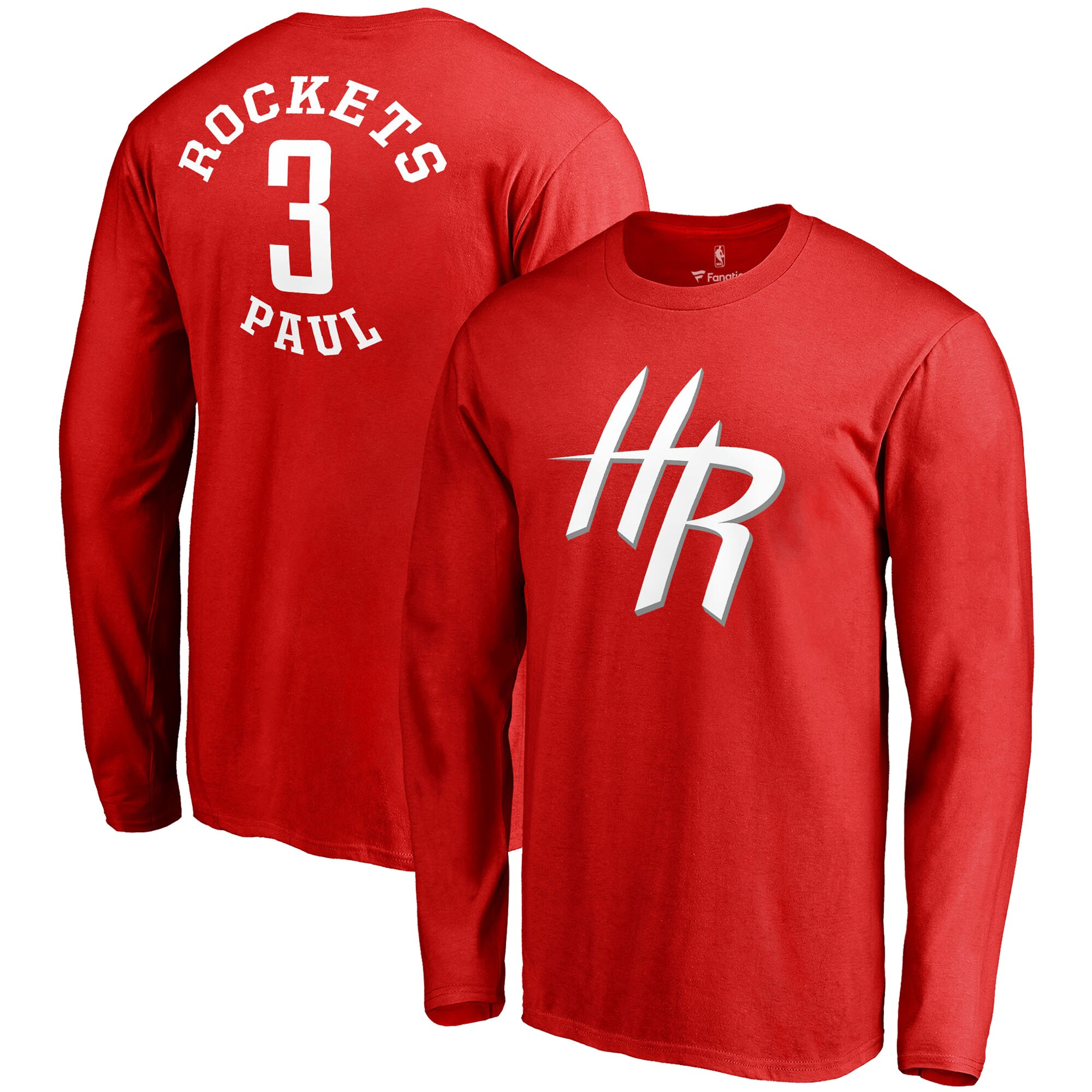 Chris Paul Houston Rockets Fanatics Branded Round About Name & Number Long Sleeve T-Shirt - Red