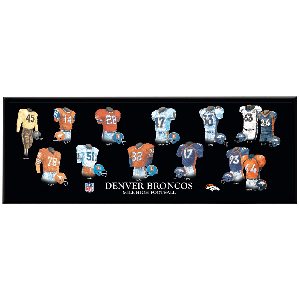 Denver Broncos 8'' x 24'' Uniform Evolution Plaque