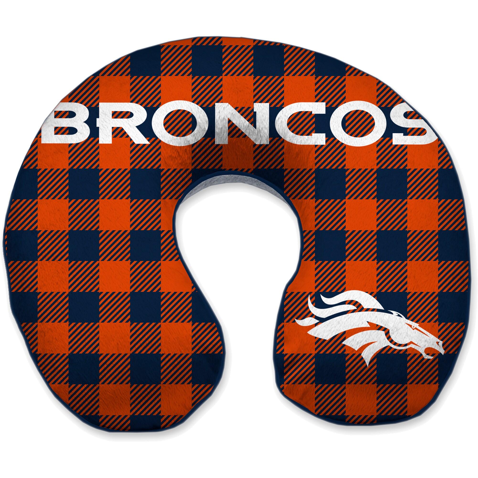 Denver Broncos Buffalo Check Sherpa Memory Foam Travel Pillow - Blue