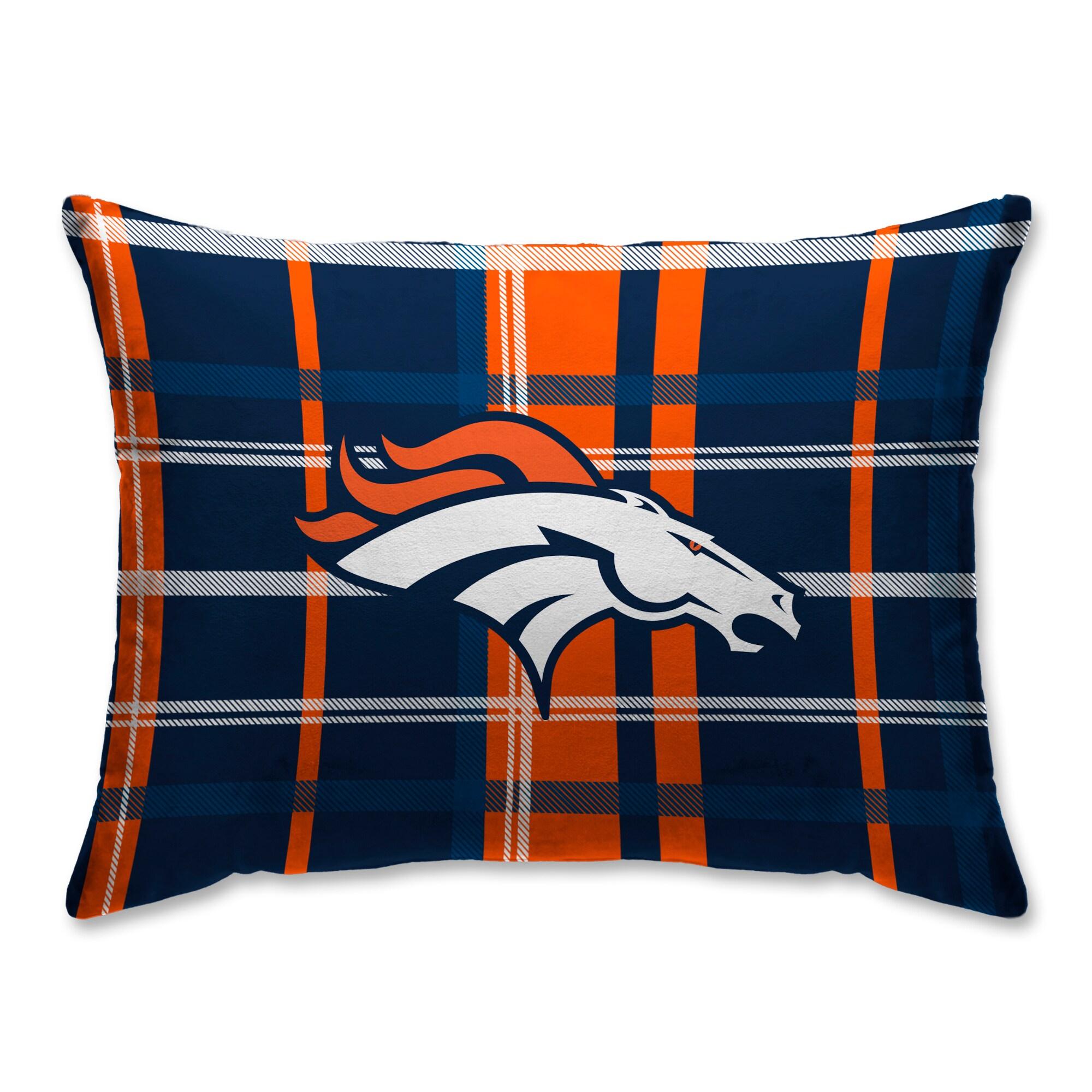 Denver Broncos Plaid Plush Sherpa Bed Pillow - Blue