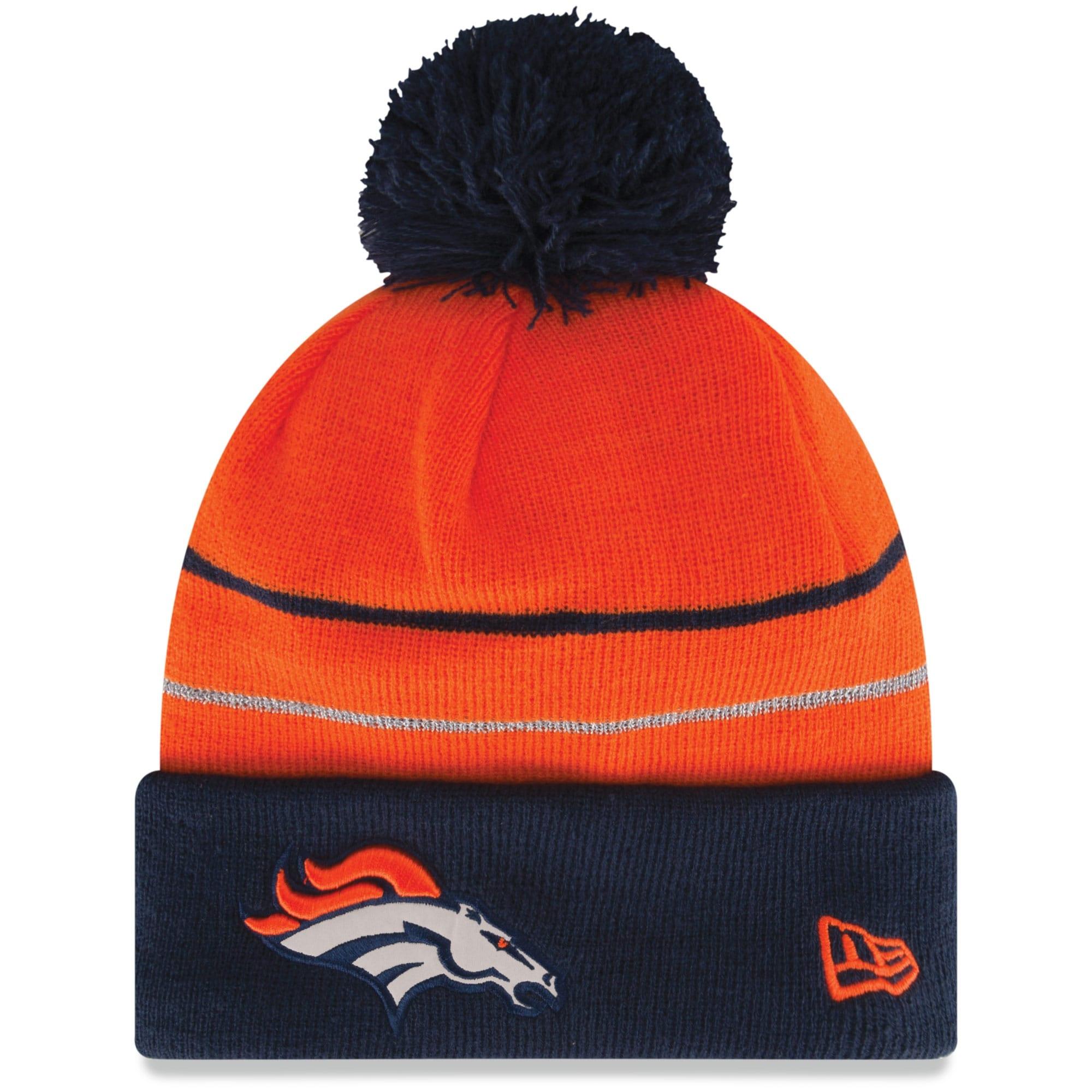 Denver Broncos New Era Two Stripe Cuffed Knit Hat - Orange