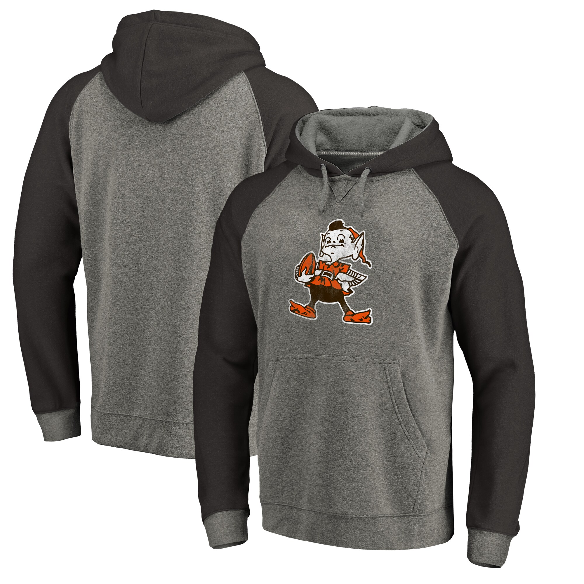 Cleveland Browns NFL Pro Line by Fanatics Branded Throwback Logo Tri-Blend Raglan Pullover Hoodie - Gray/Black