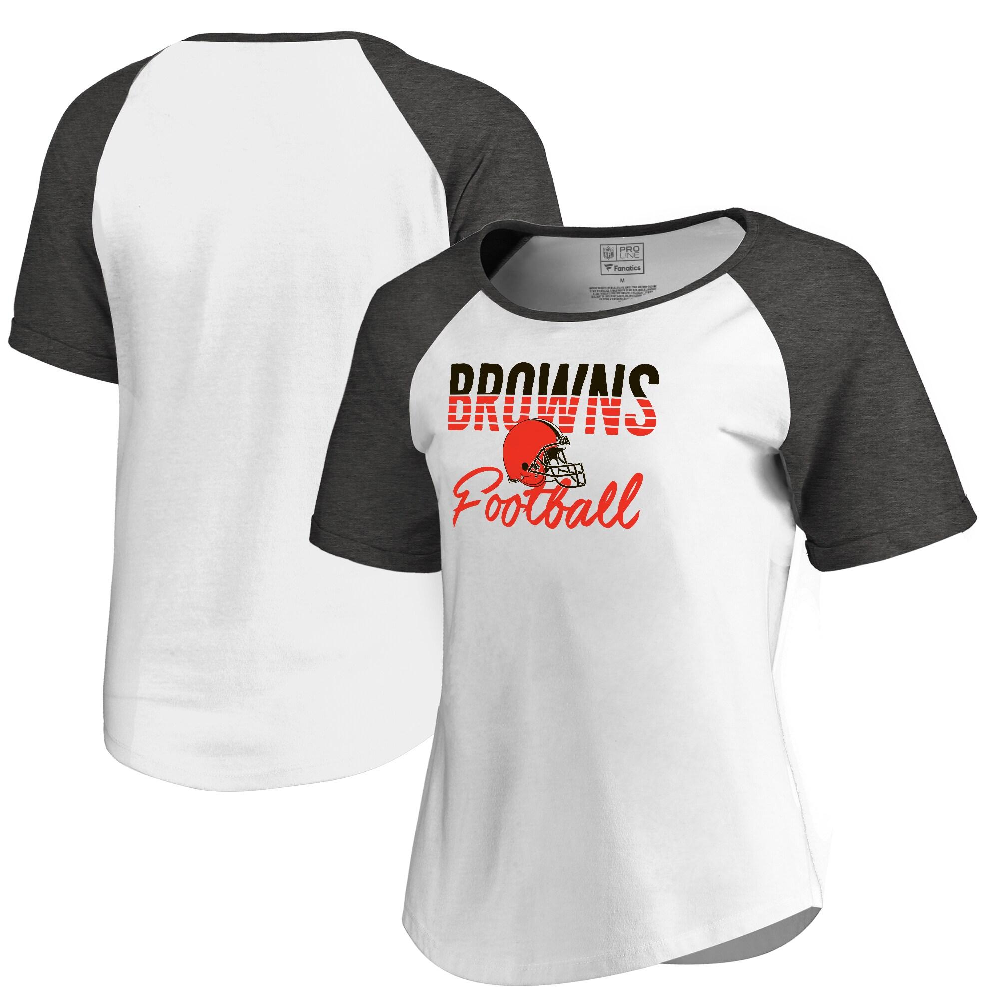 Cleveland Browns NFL Pro Line by Fanatics Branded Women's Free Line Raglan Tri-Blend T-Shirt - White