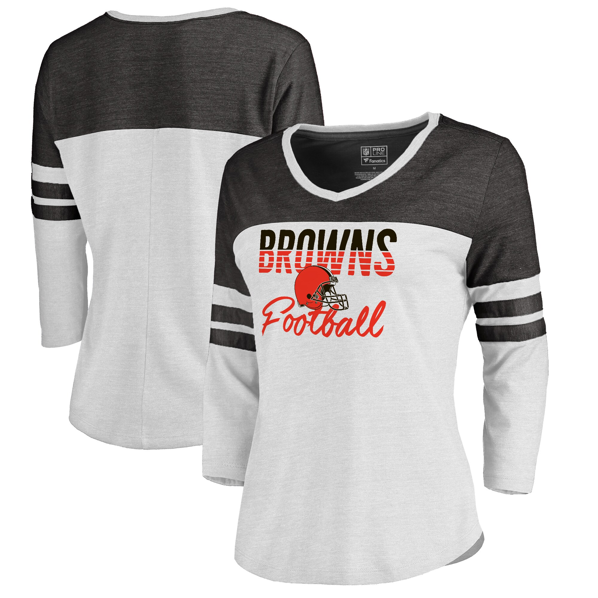 Cleveland Browns NFL Pro Line by Fanatics Branded Women's Plus Size Color Block 3/4 Sleeve Tri-Blend T-Shirt - White