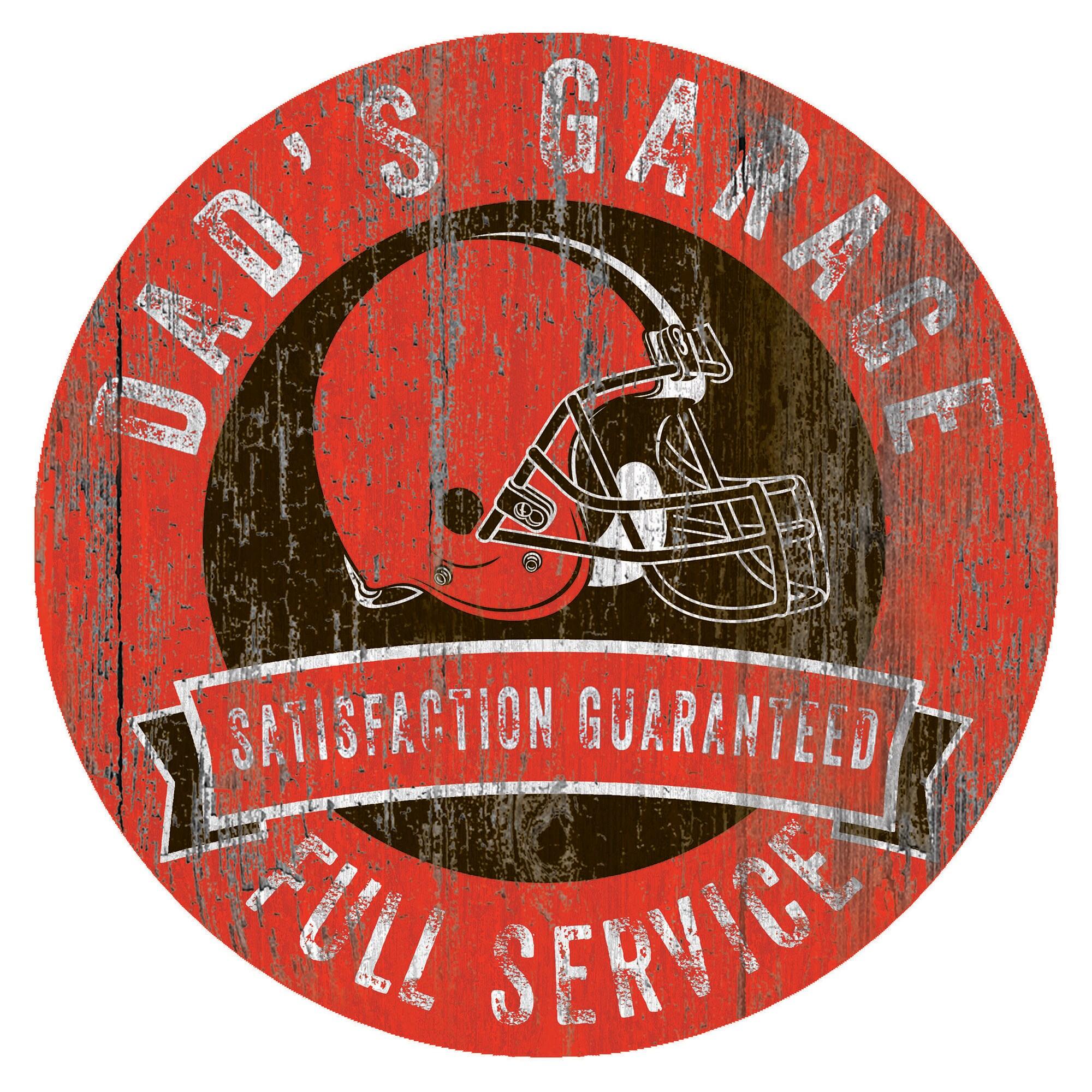 """Cleveland Browns 12"""" x 12"""" Dad's Garage Sign"""