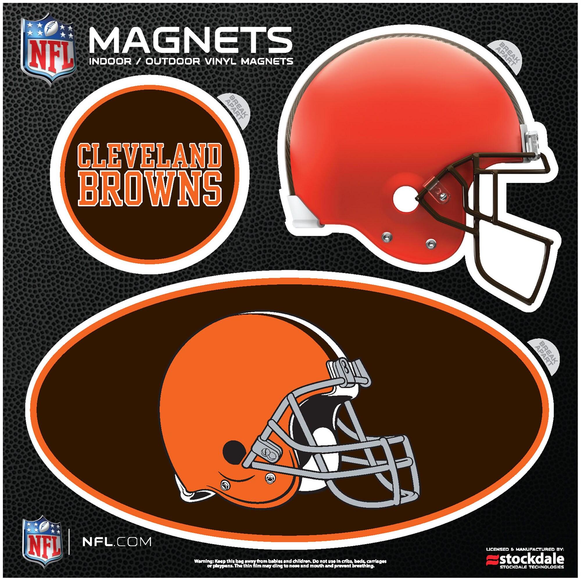 Cleveland Browns Indoor & Outdoor 3-Pack Magnet Set