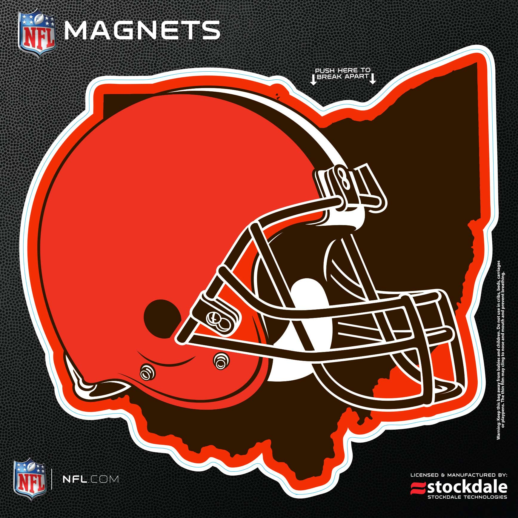 """Cleveland Browns 6"""" x 6"""" State Shape Car Magnet"""