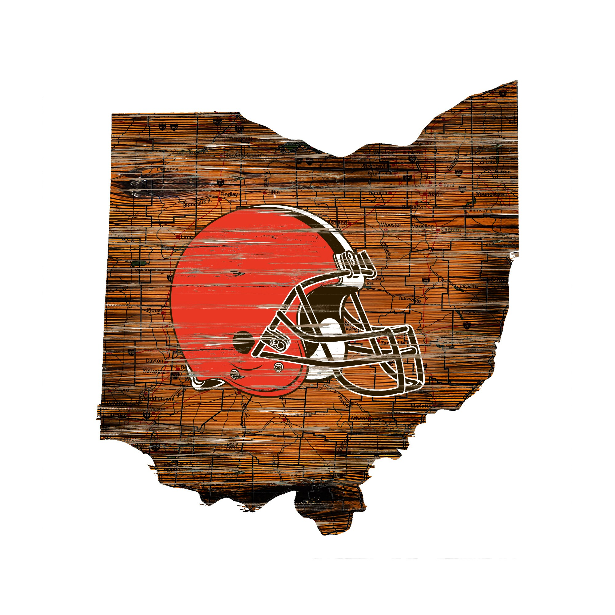 "Cleveland Browns 23.5"" x 23.5"" Distressed State with Logo Sign"