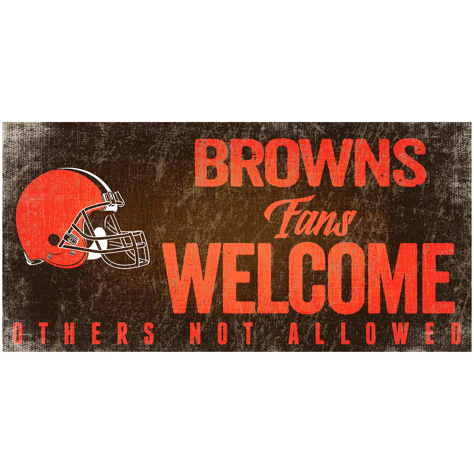 "Cleveland Browns 6"" x 12"" Fans Welcome Sign"