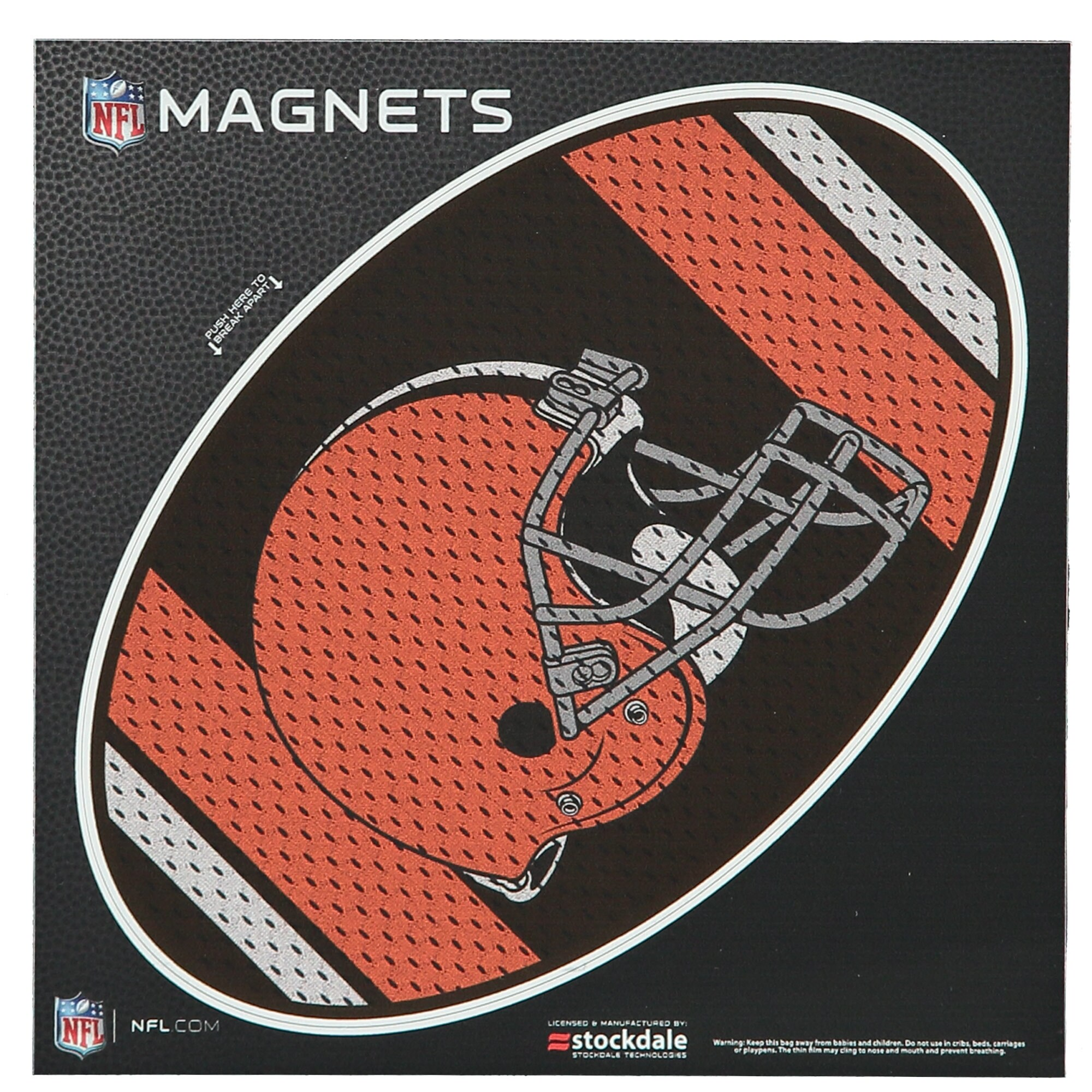 """Cleveland Browns Jersey 6"""" x 6"""" Oval Full Color Magnet"""