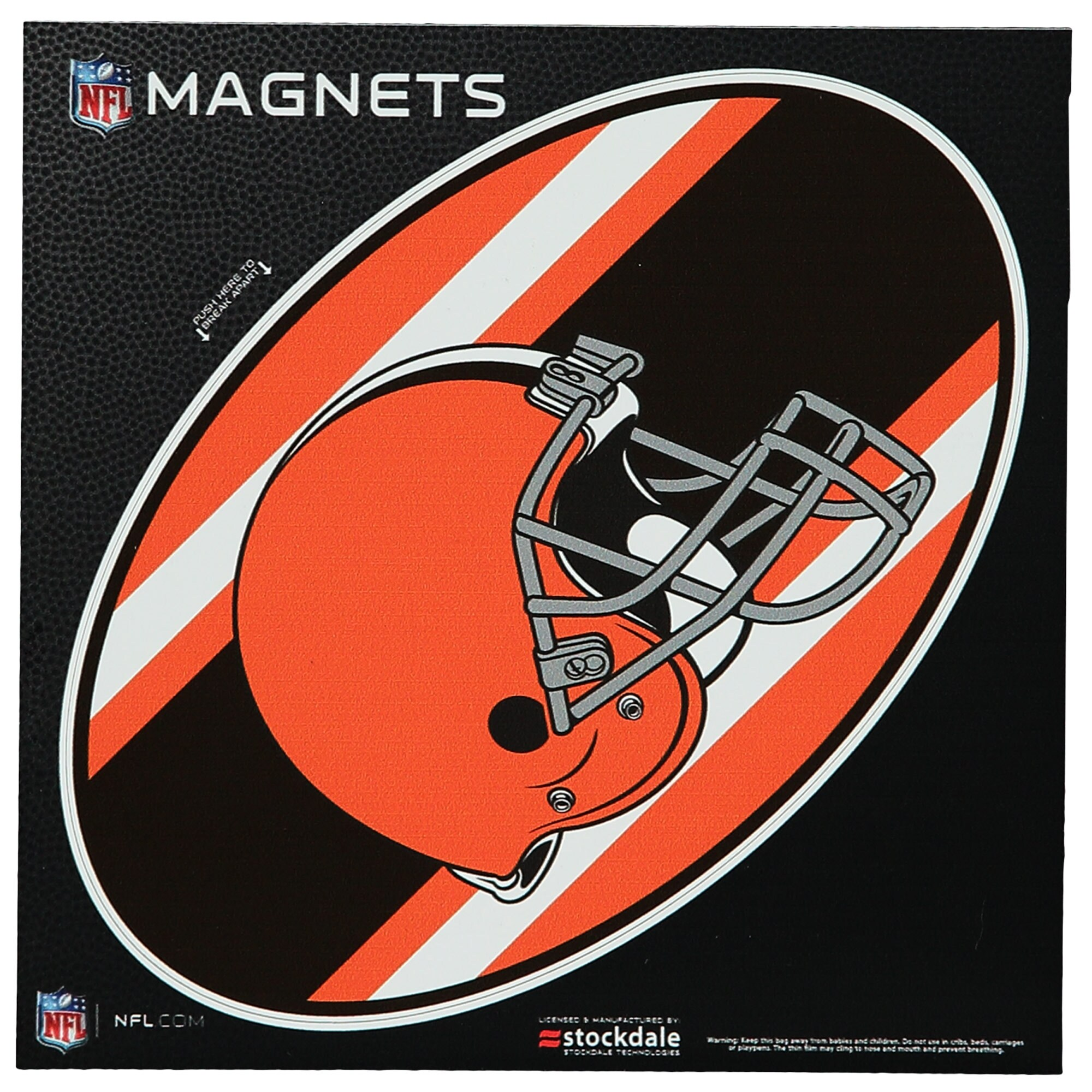 "Cleveland Browns Stripe 6"" x 6"" Oval Full Color Magnet"