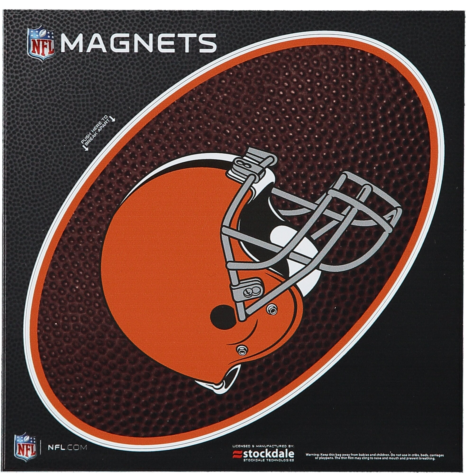 """Cleveland Browns Teamball 6"""" x 6"""" Oval Full Color Magnet"""