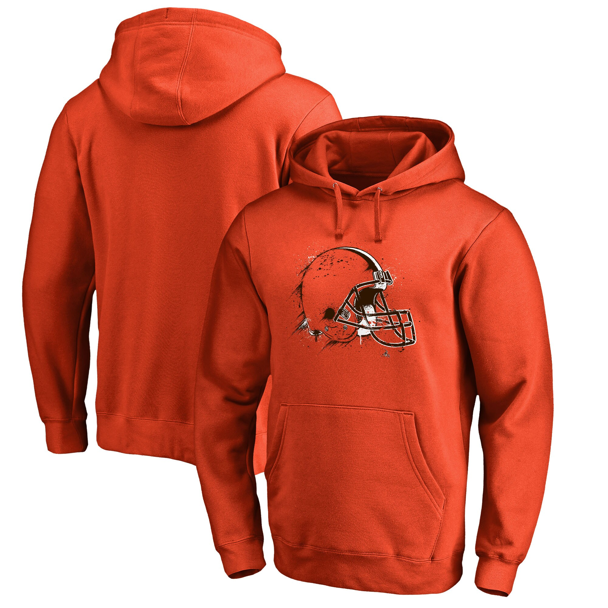 Cleveland Browns NFL Pro Line by Fanatics Branded Splatter Logo Pullover Hoodie - Orange
