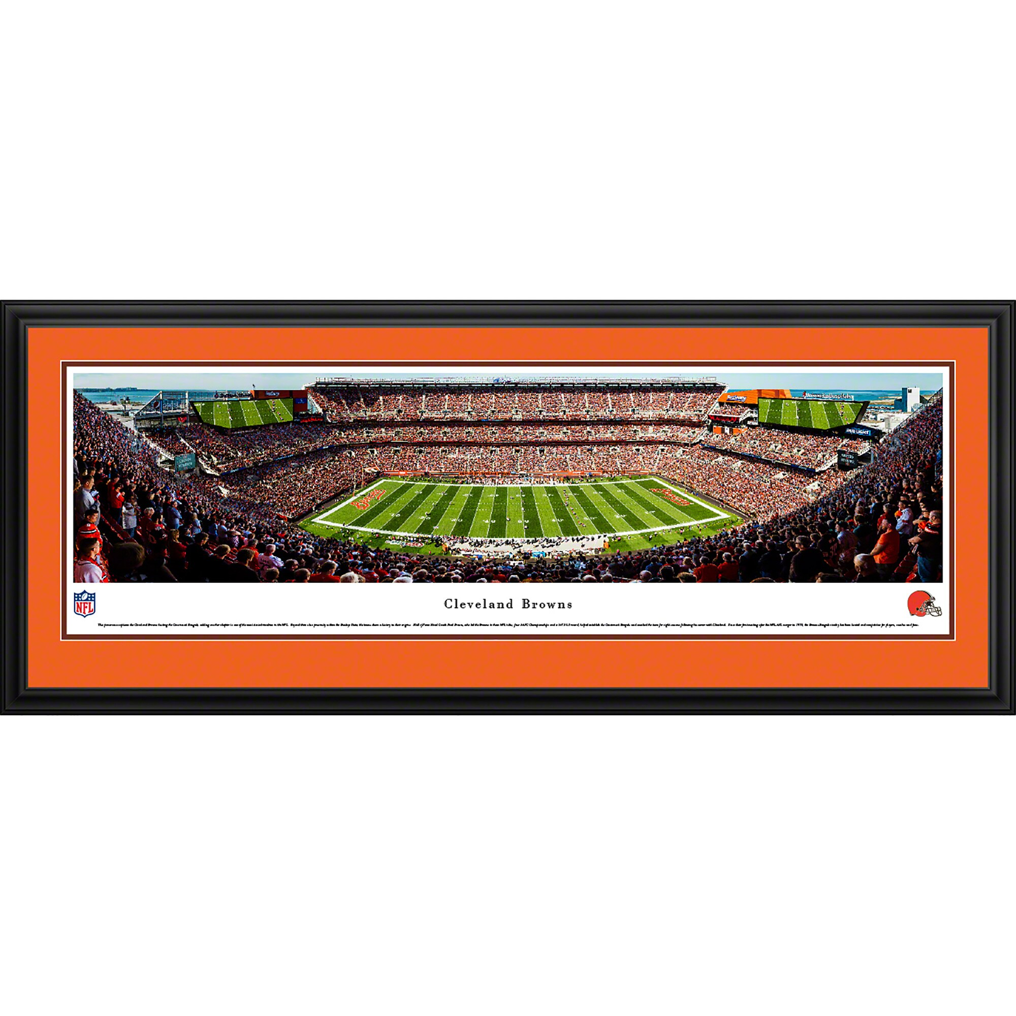 """Cleveland Browns 44"""" x 18"""" 50-Yard Line Deluxe Framed Panoramic"""
