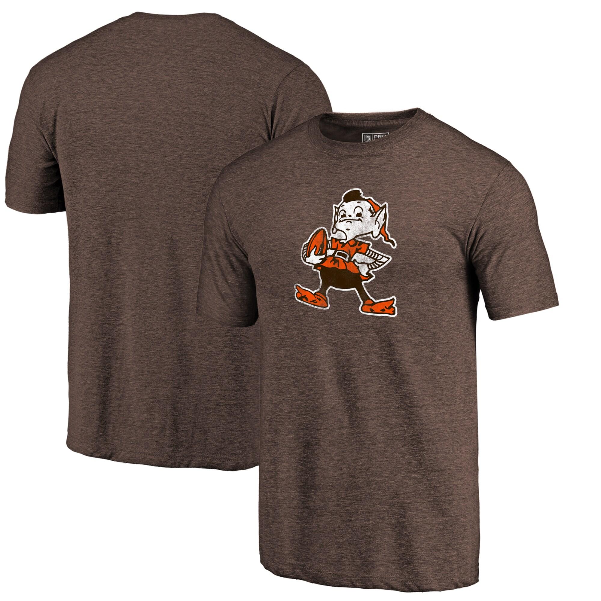 Cleveland Browns Fanatics Branded Throwback Logo Tri-Blend T-Shirt - Brown