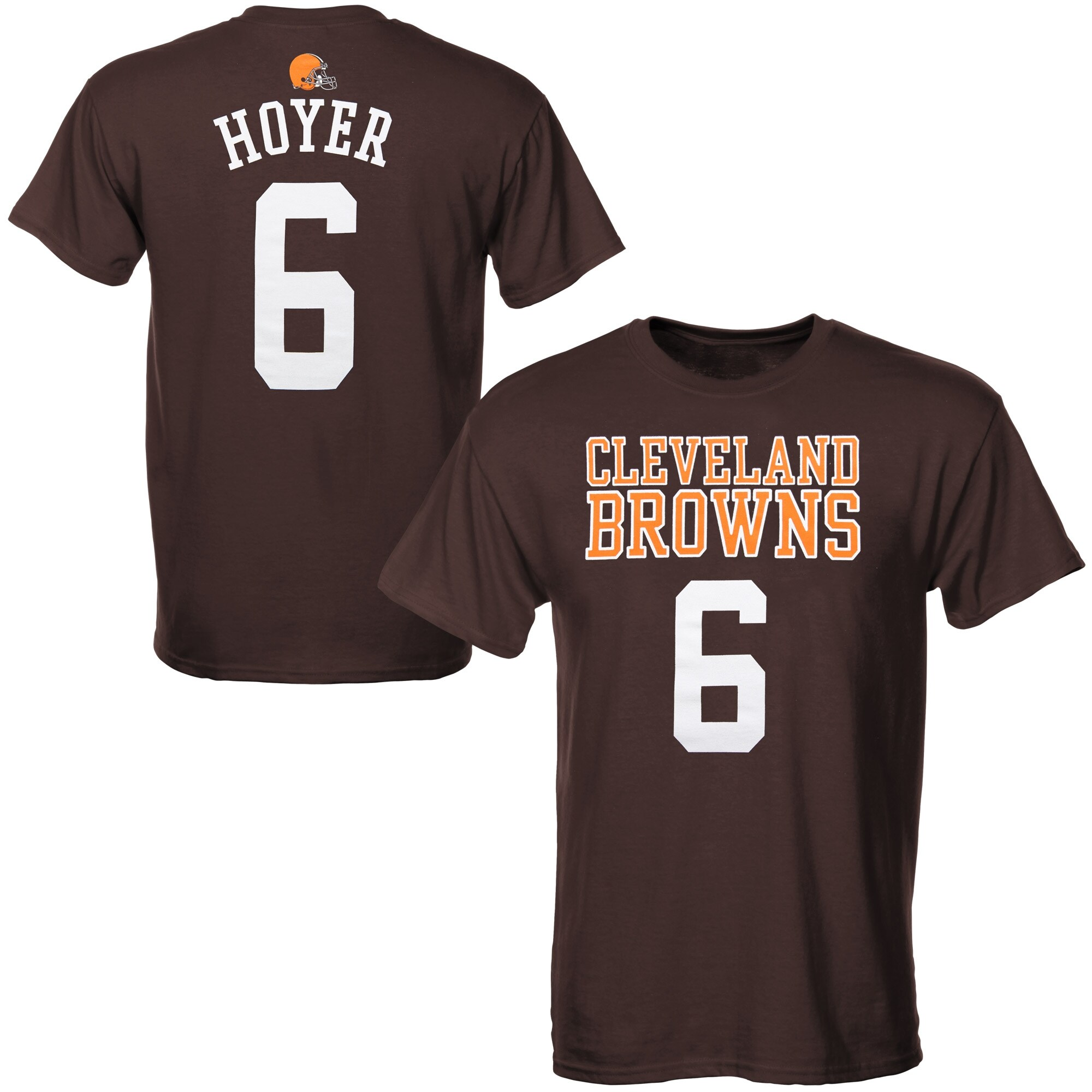 Brian Hoyer Cleveland Browns Historic logo Youth Primary Gear name & Number T-Shirt - Brown