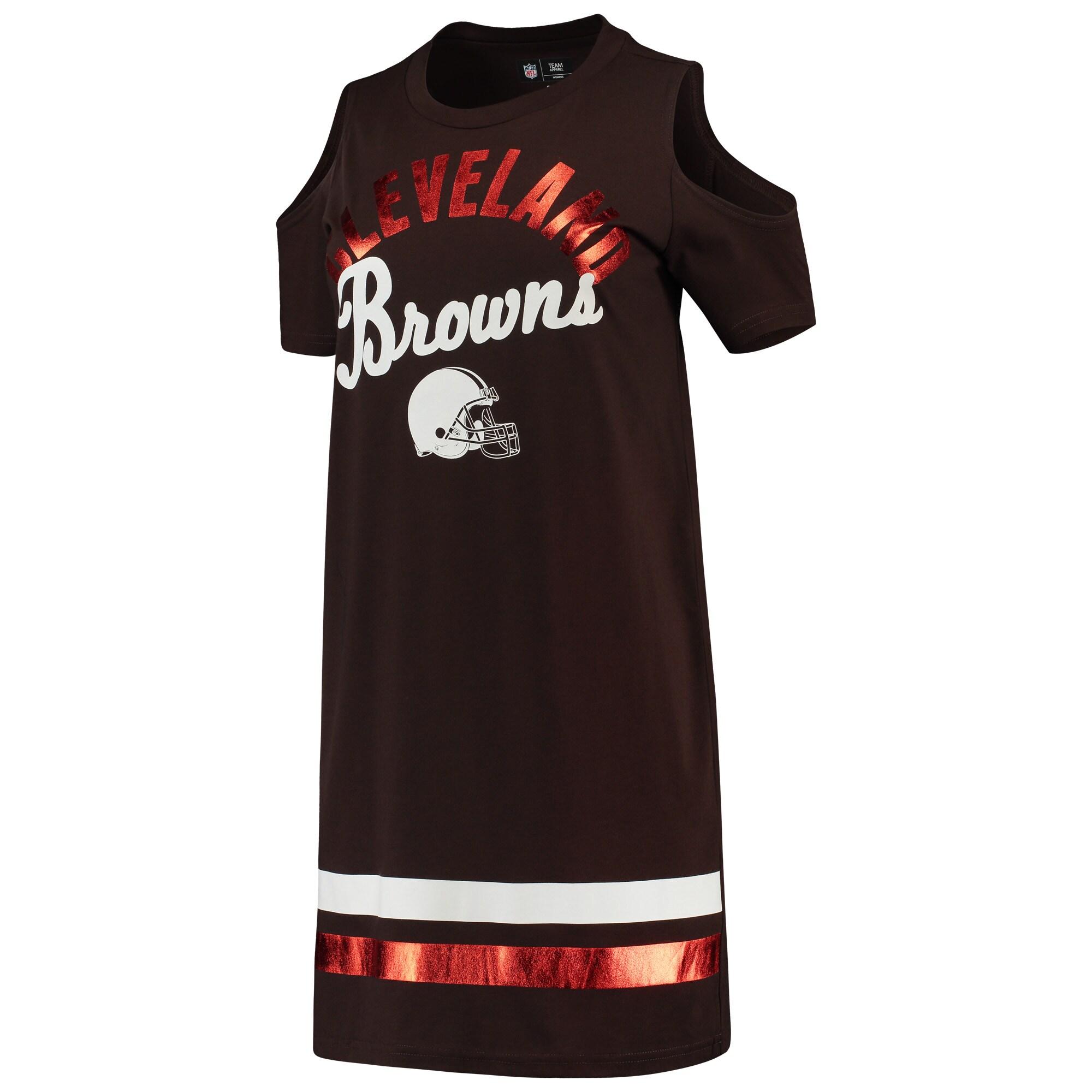 Cleveland Browns G-III 4Her by Carl Banks Women's Go Get Em Tri-Blend Cold Shoulder Mini-Dress - Brown