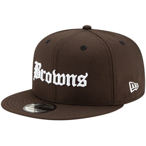 Cleveland Browns New Era Gothic Script 9FIFTY Adjustable Snapback Hat - Brown
