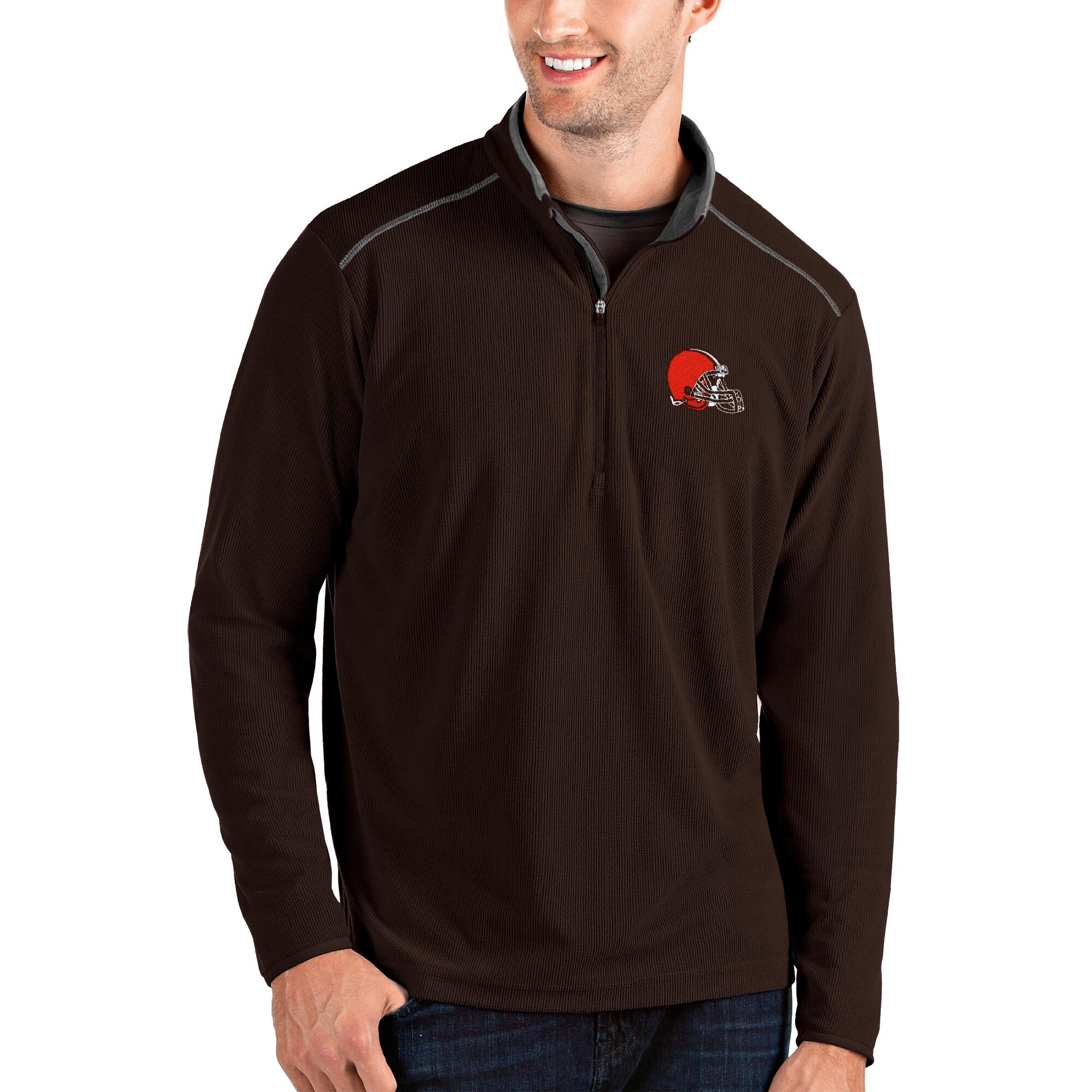 Cleveland Browns Antigua Glacier Quarter-Zip Pullover Jacket - Brown/Gray
