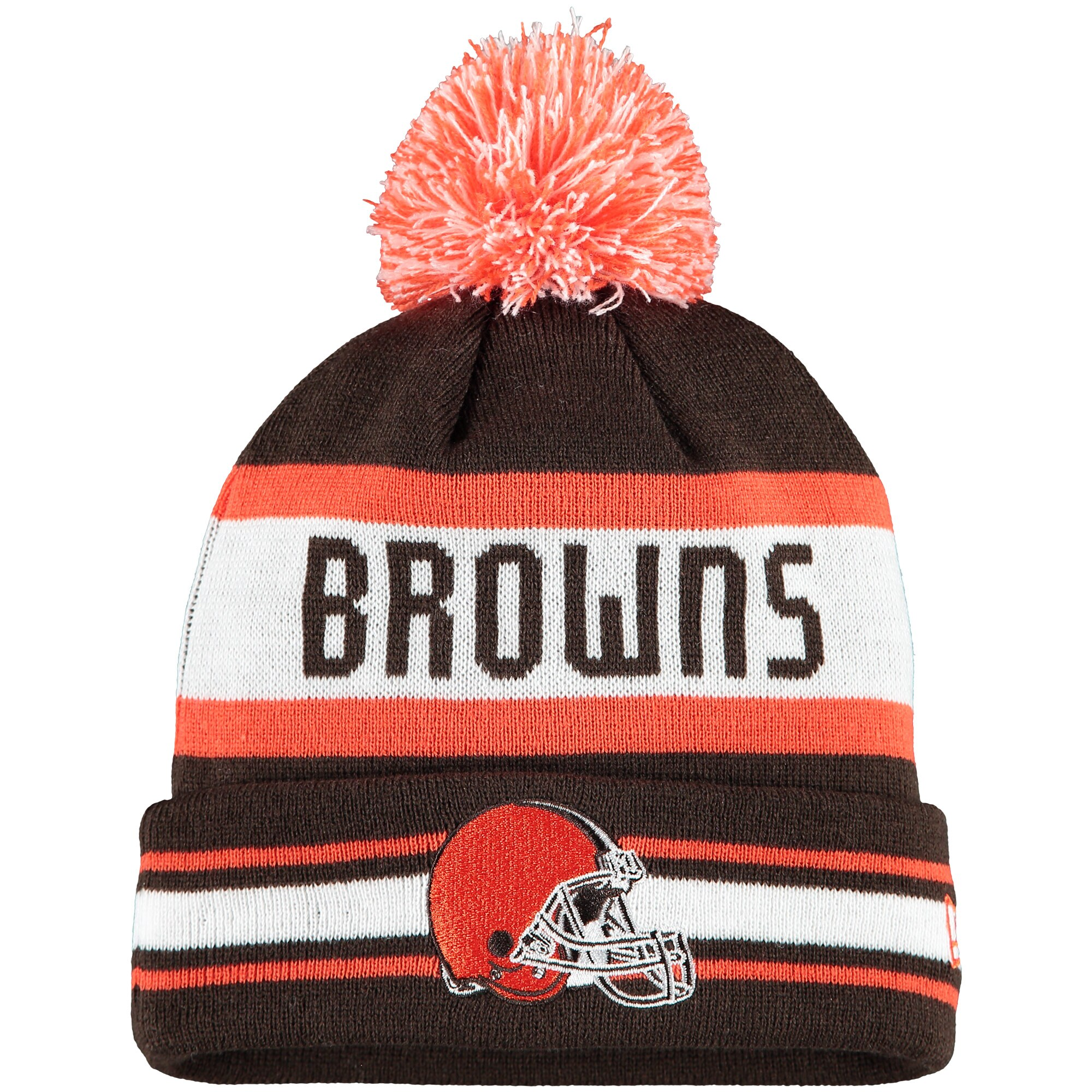 Cleveland Browns New Era Jake Striped Cuffed Knit Hat with Pom - Brown