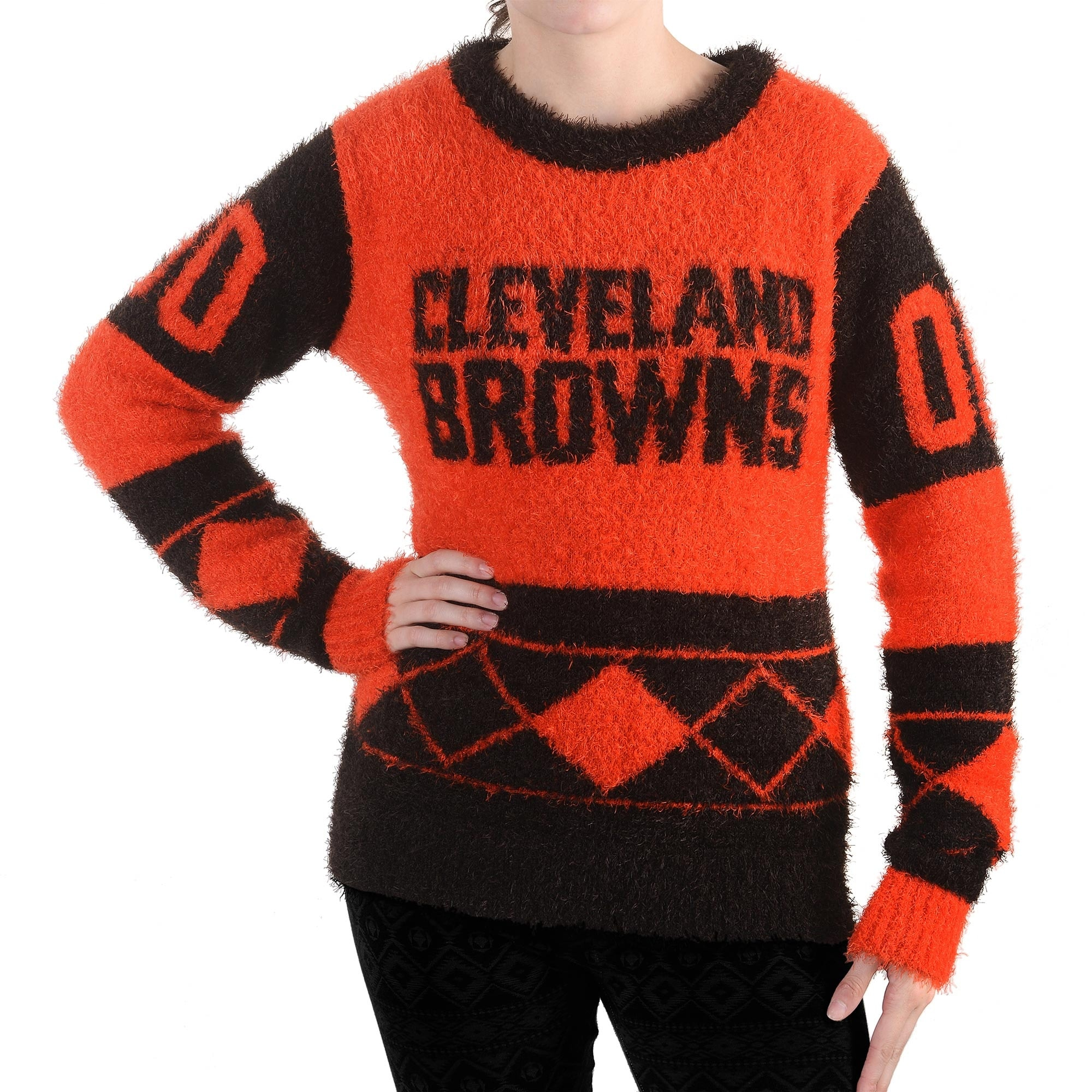 Cleveland Browns Klew Women's Eyelash Crew Ugly Sweater - Brown