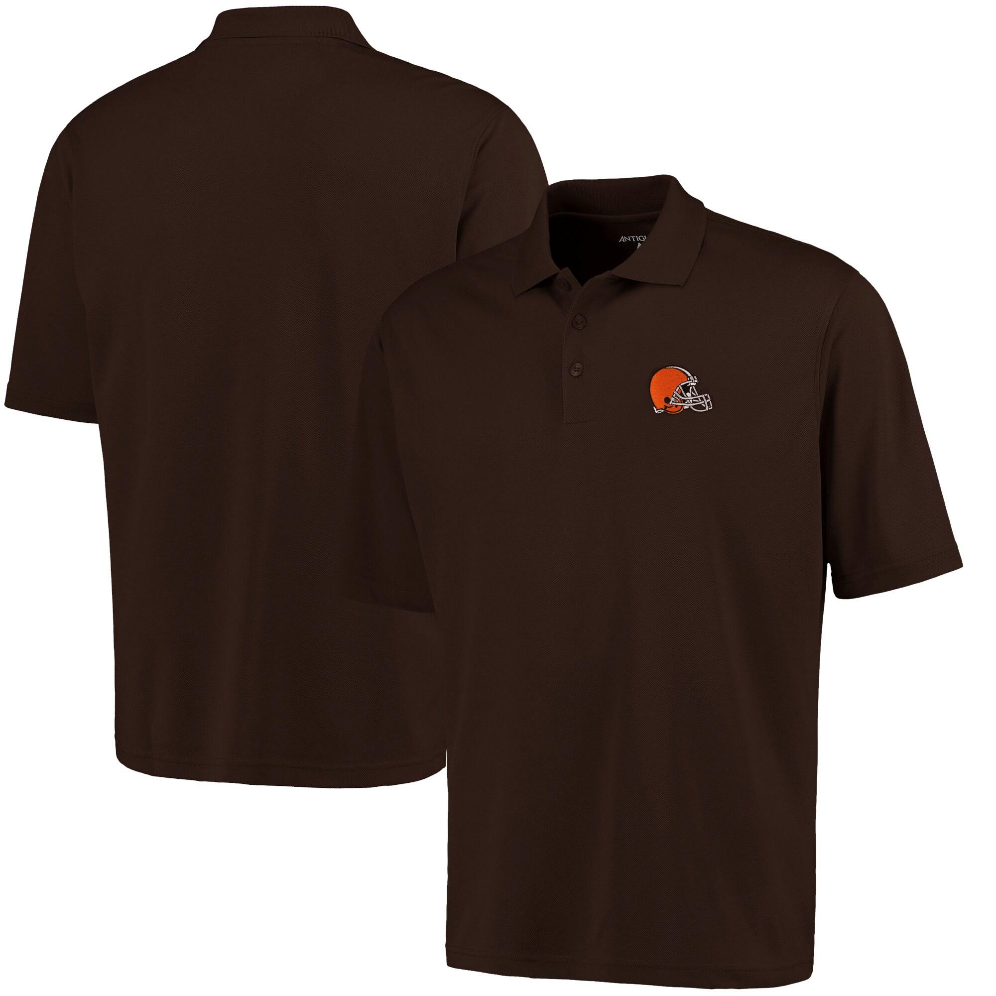 Cleveland Browns Antigua Pique Xtra-Lite Polo - Brown