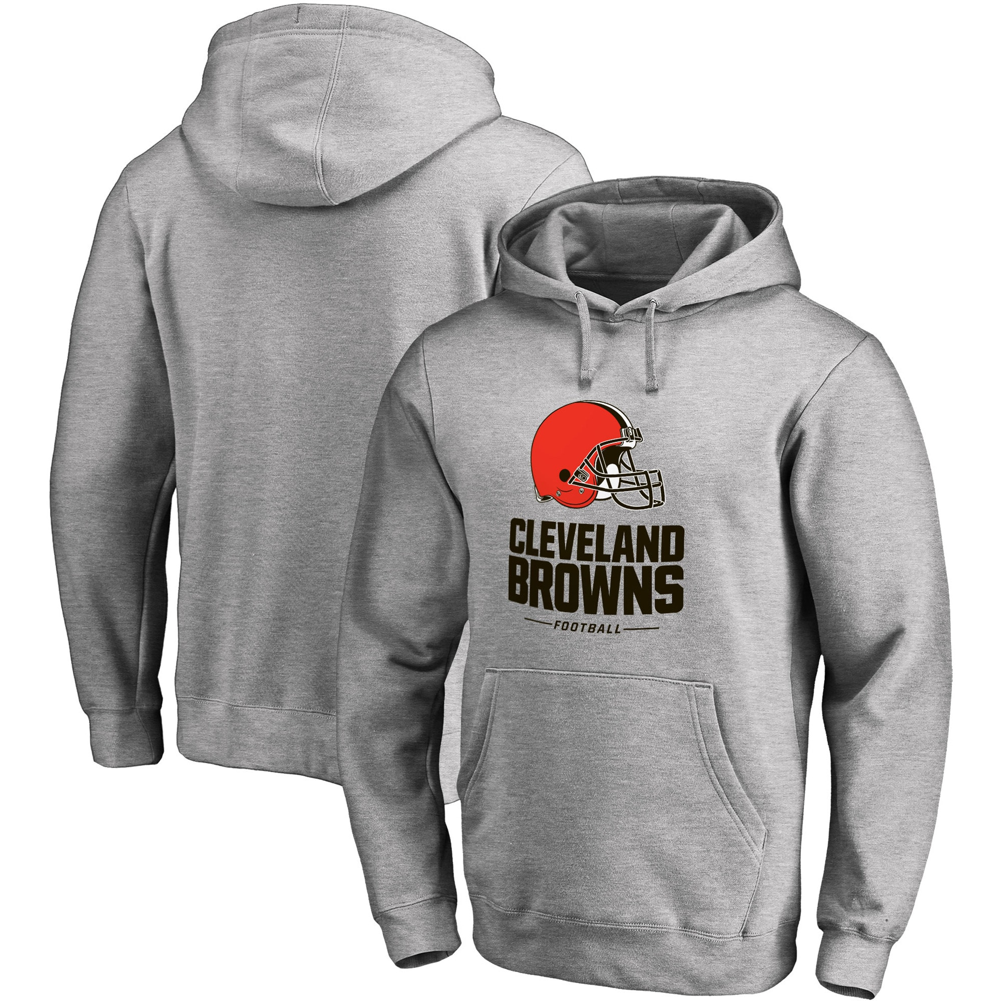 Cleveland Browns NFL Pro Line Big & Tall Team Lockup Pullover Hoodie - Gray