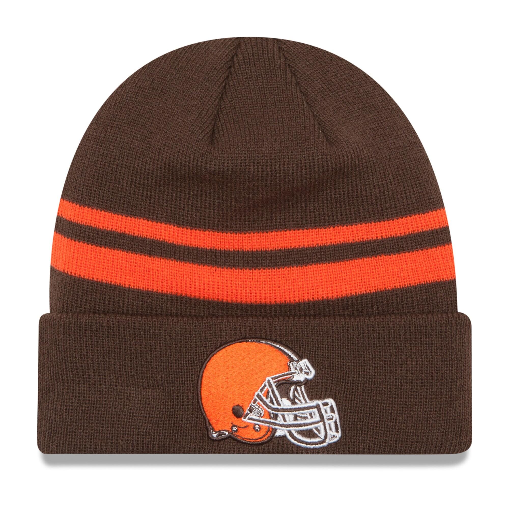 Cleveland Browns New Era Team Logo Cuffed Knit Hat - Brown