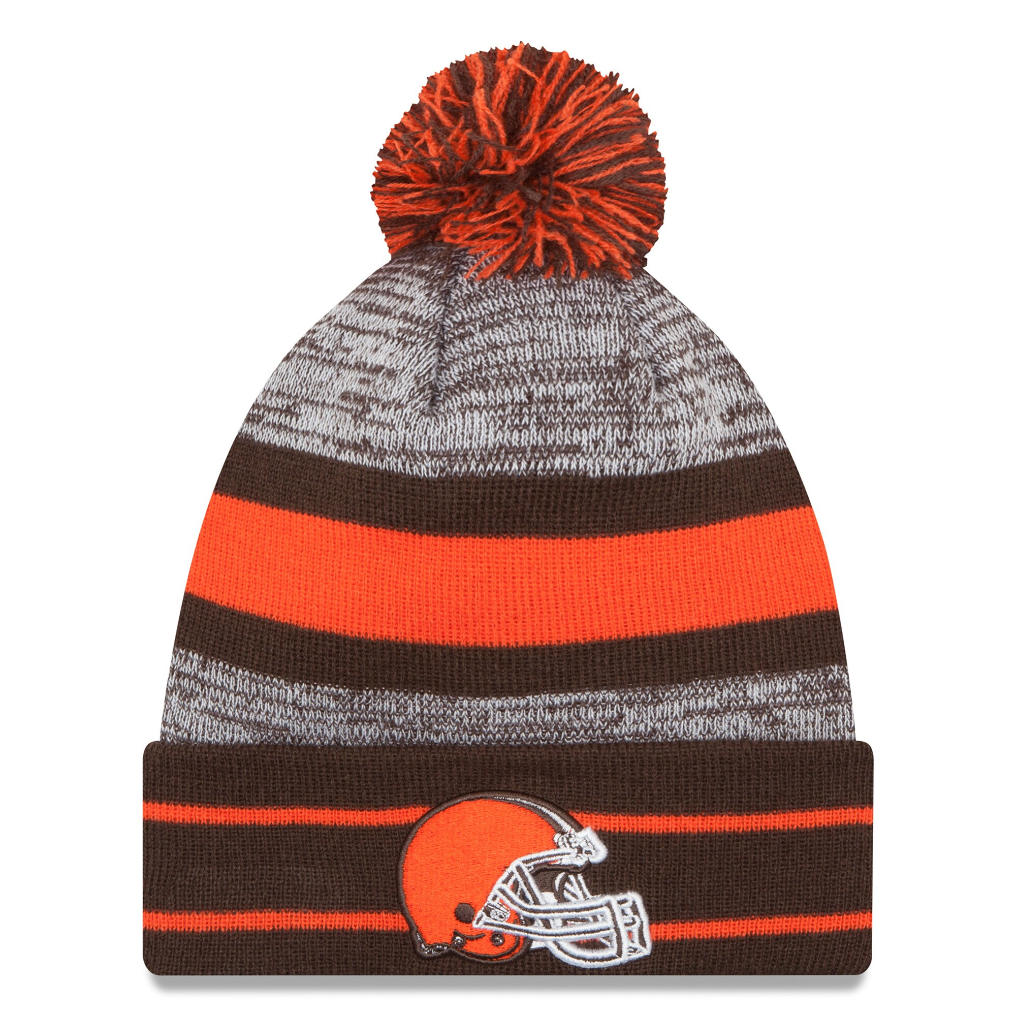 Cleveland Browns New Era Team Logo Cuffed Knit Hat with Pom - Brown