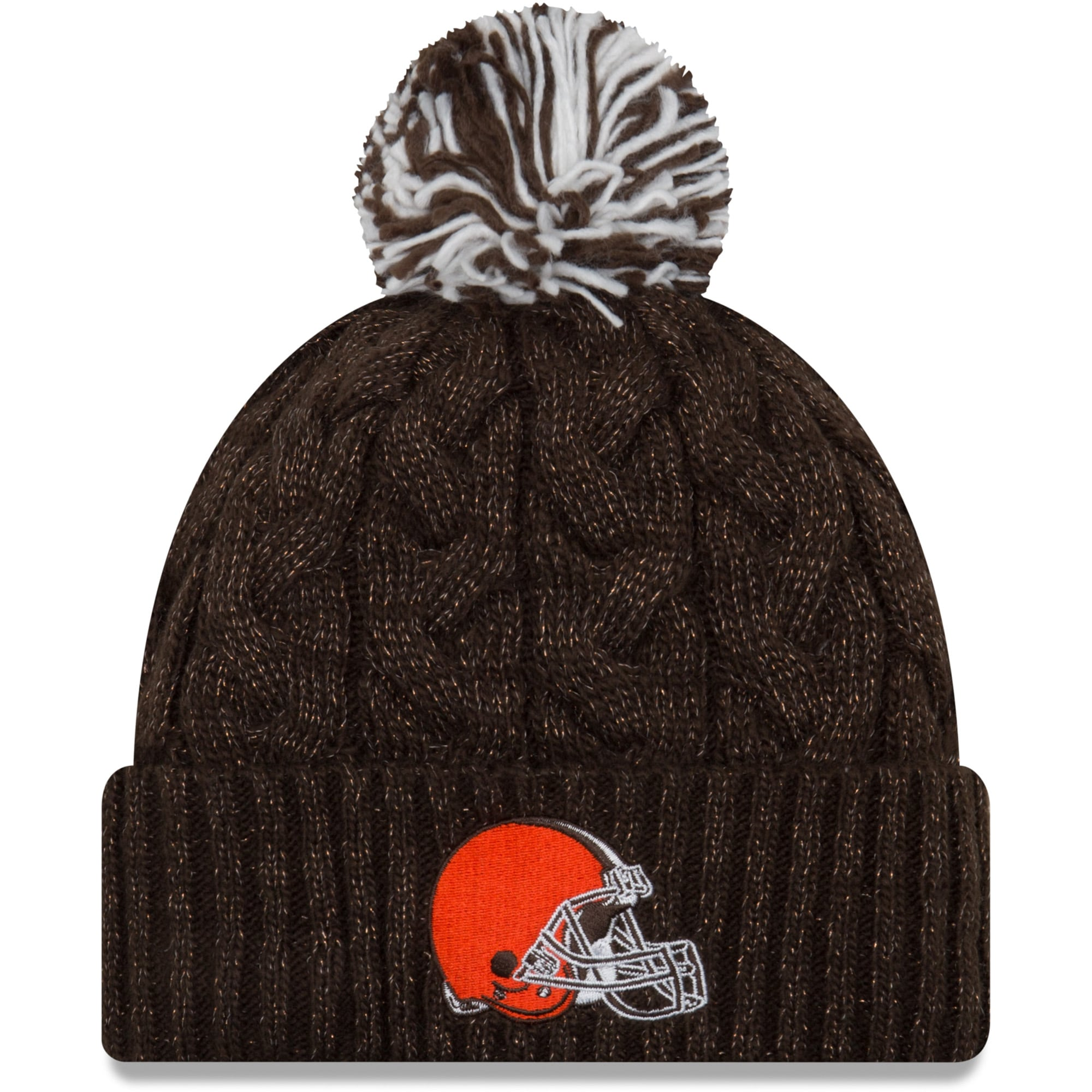 Cleveland Browns New Era Women's Cozy Cable Cuffed Knit Hat - Brown
