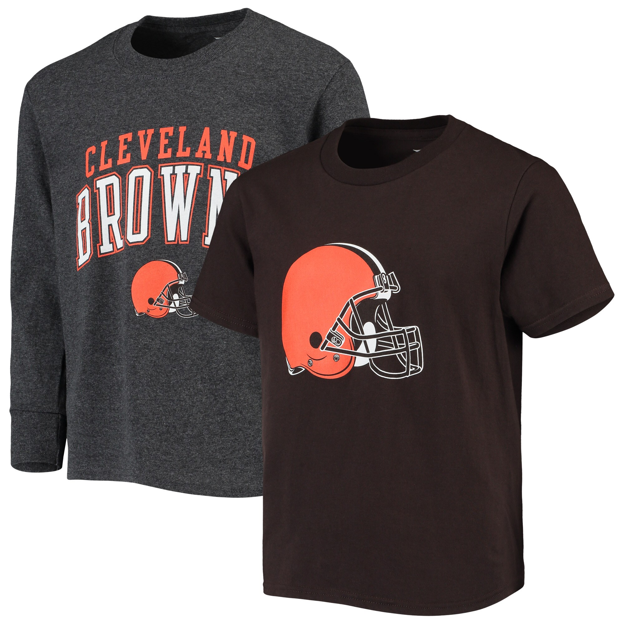 Cleveland Browns NFL Pro Line by Fanatics Branded Youth Short Sleeve & Long Sleeve T-Shirt Combo Pack - Brown/Gray